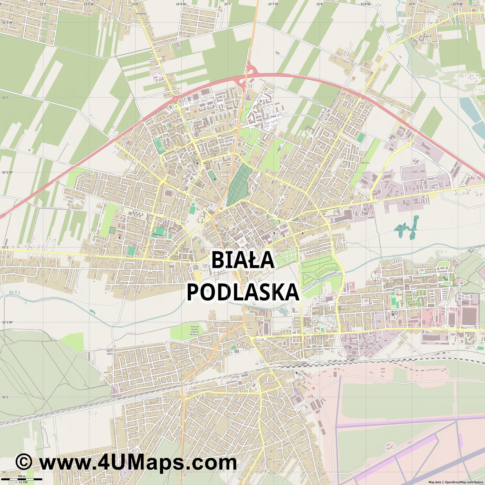 Biała Podlaska  jpg ultra high detail preview vector city map