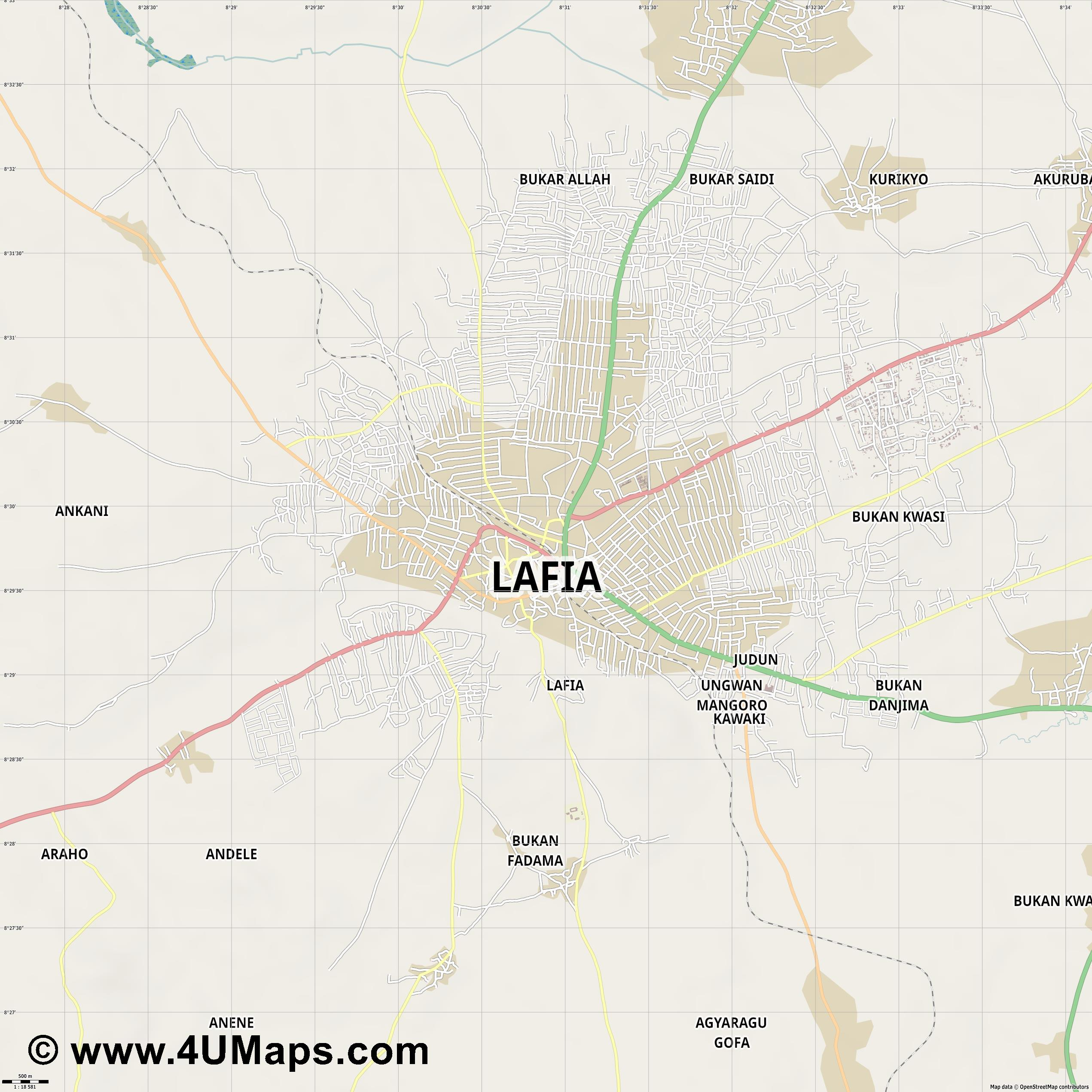 Lafia  jpg ultra high detail preview vector city map