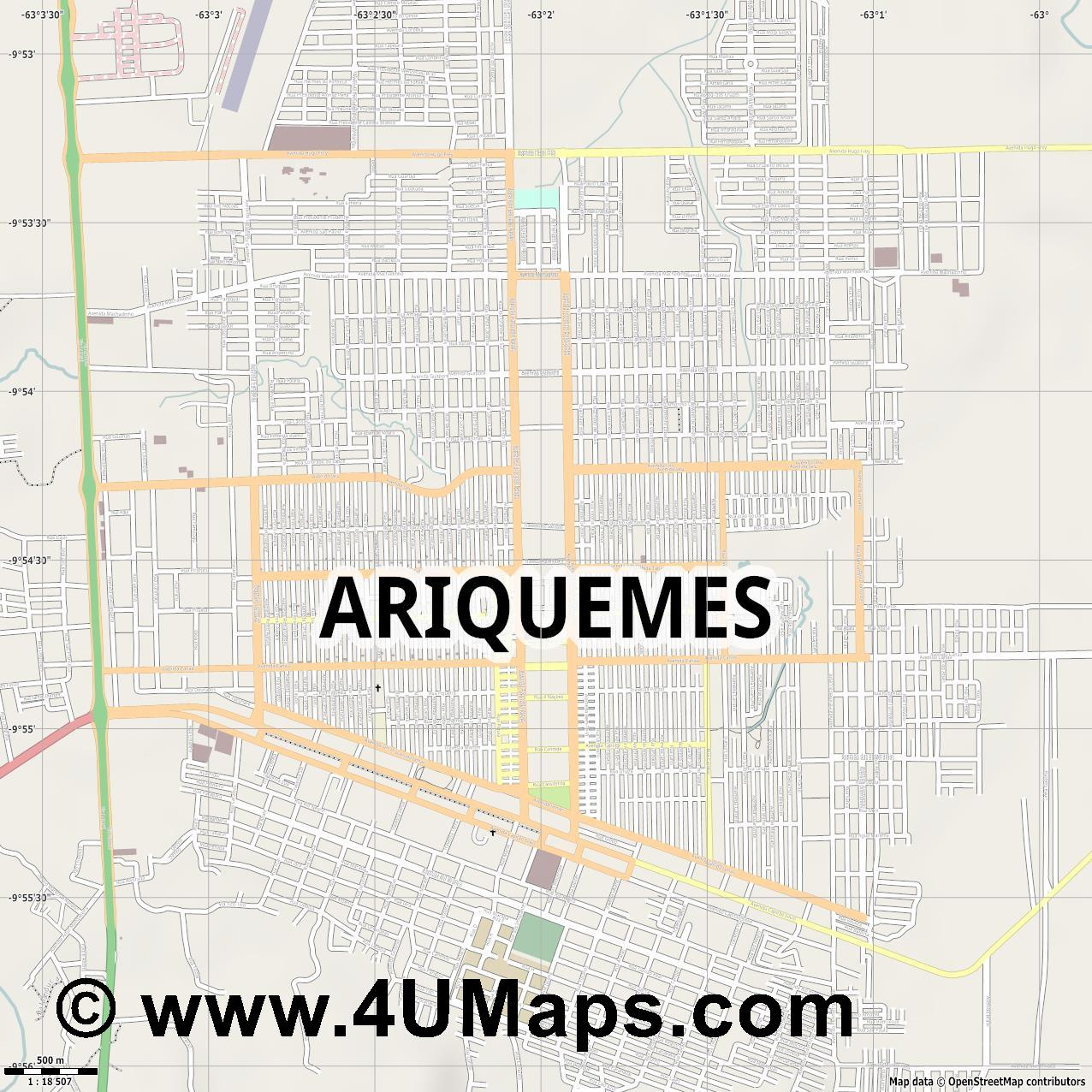 Ariquemes  jpg ultra high detail preview vector city map