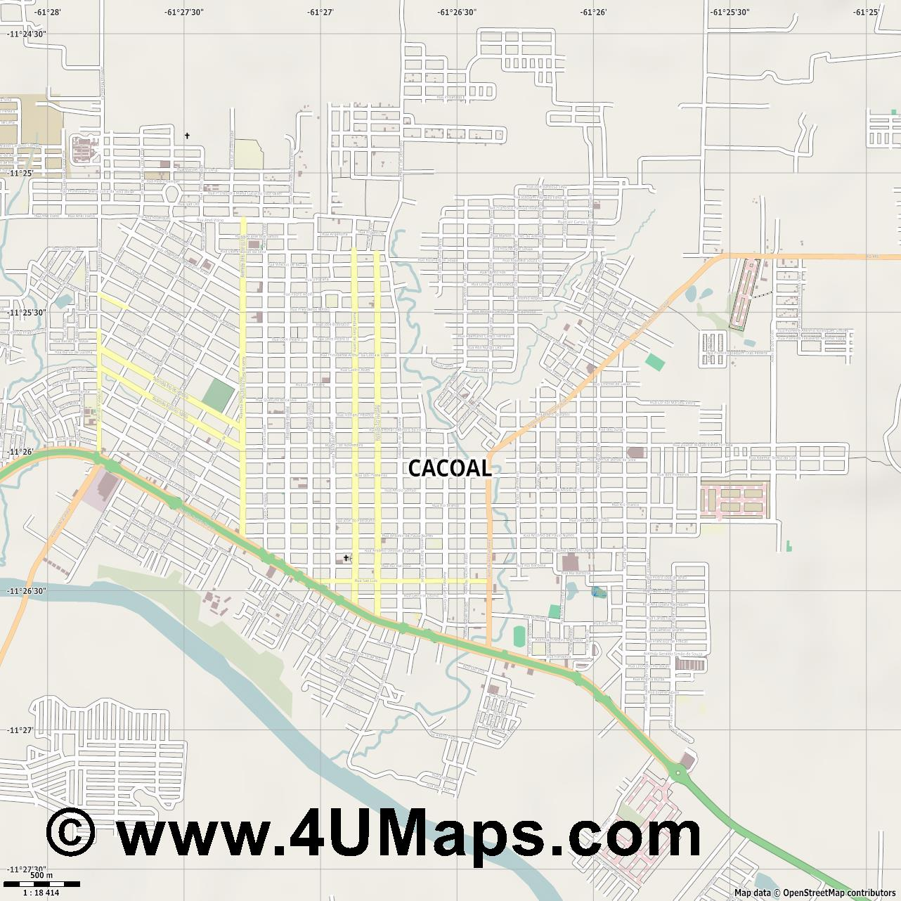Cacoal  jpg ultra high detail preview vector city map