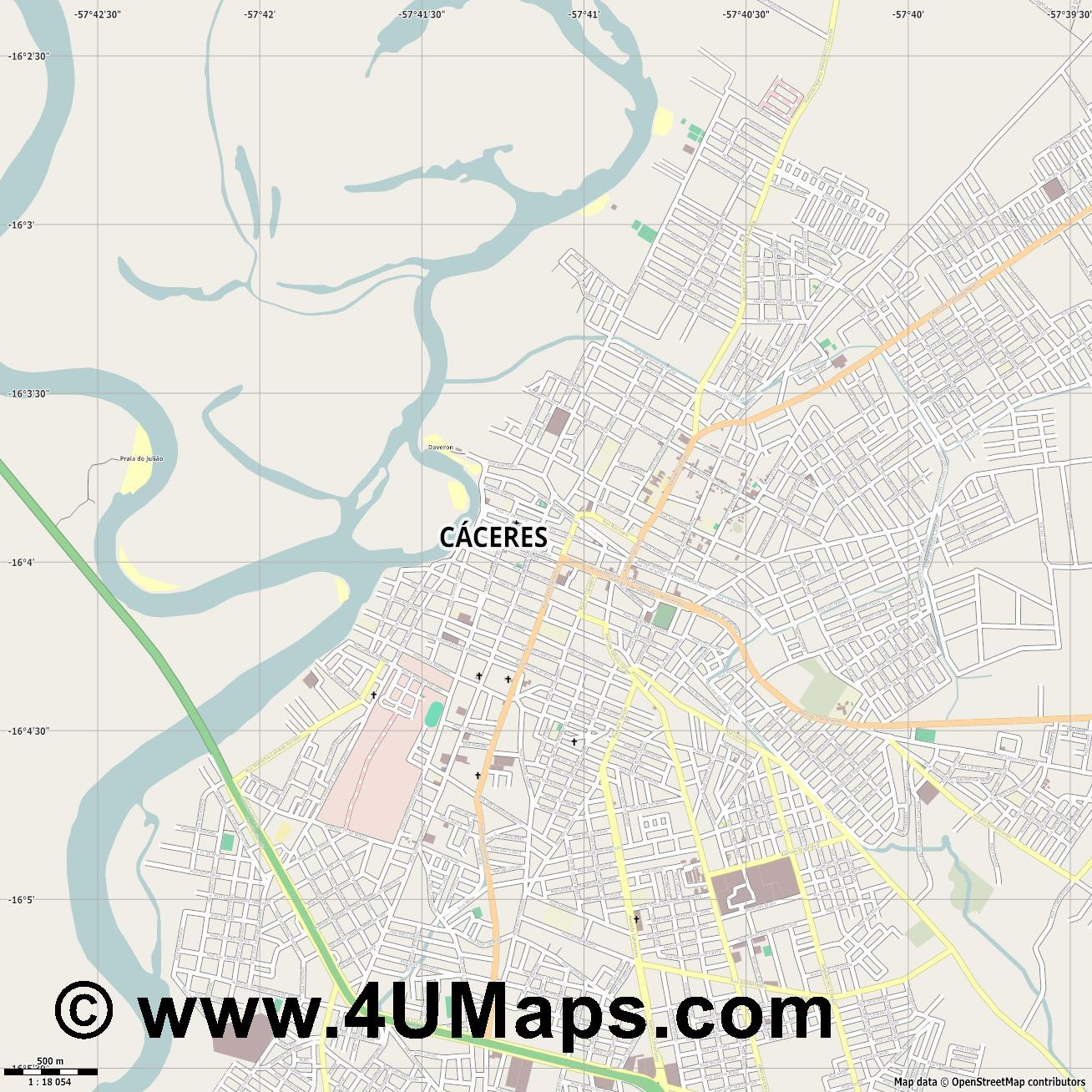 Cáceres  jpg ultra high detail preview vector city map