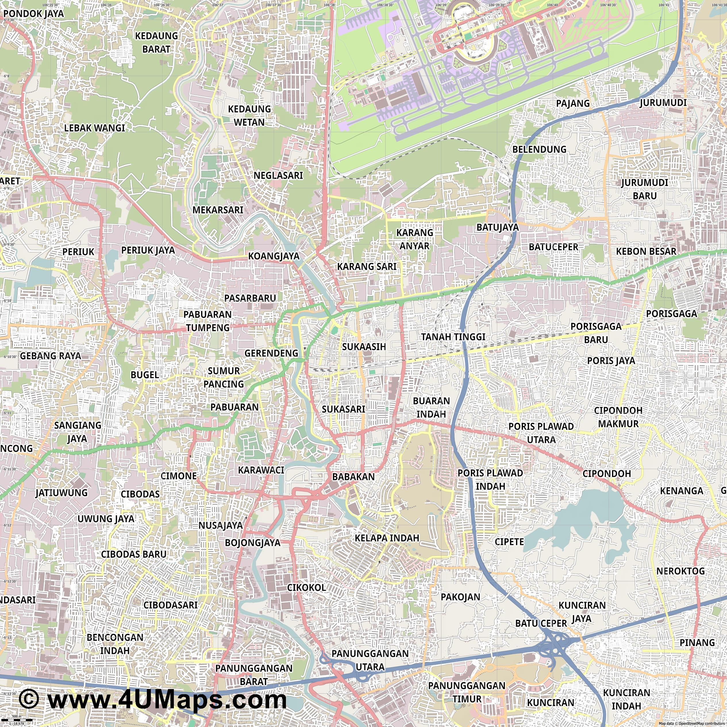Tangerang  jpg ultra high detail preview vector city map