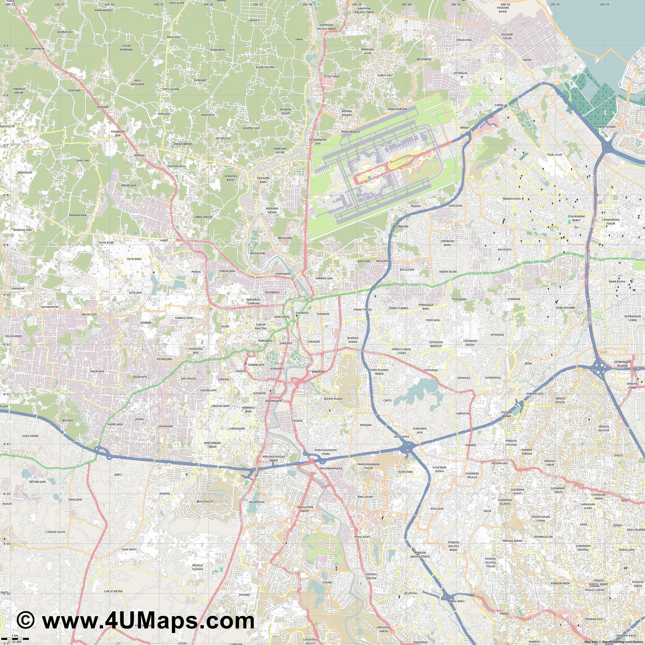 Tangerang  jpg high detail, large area preview vector city map