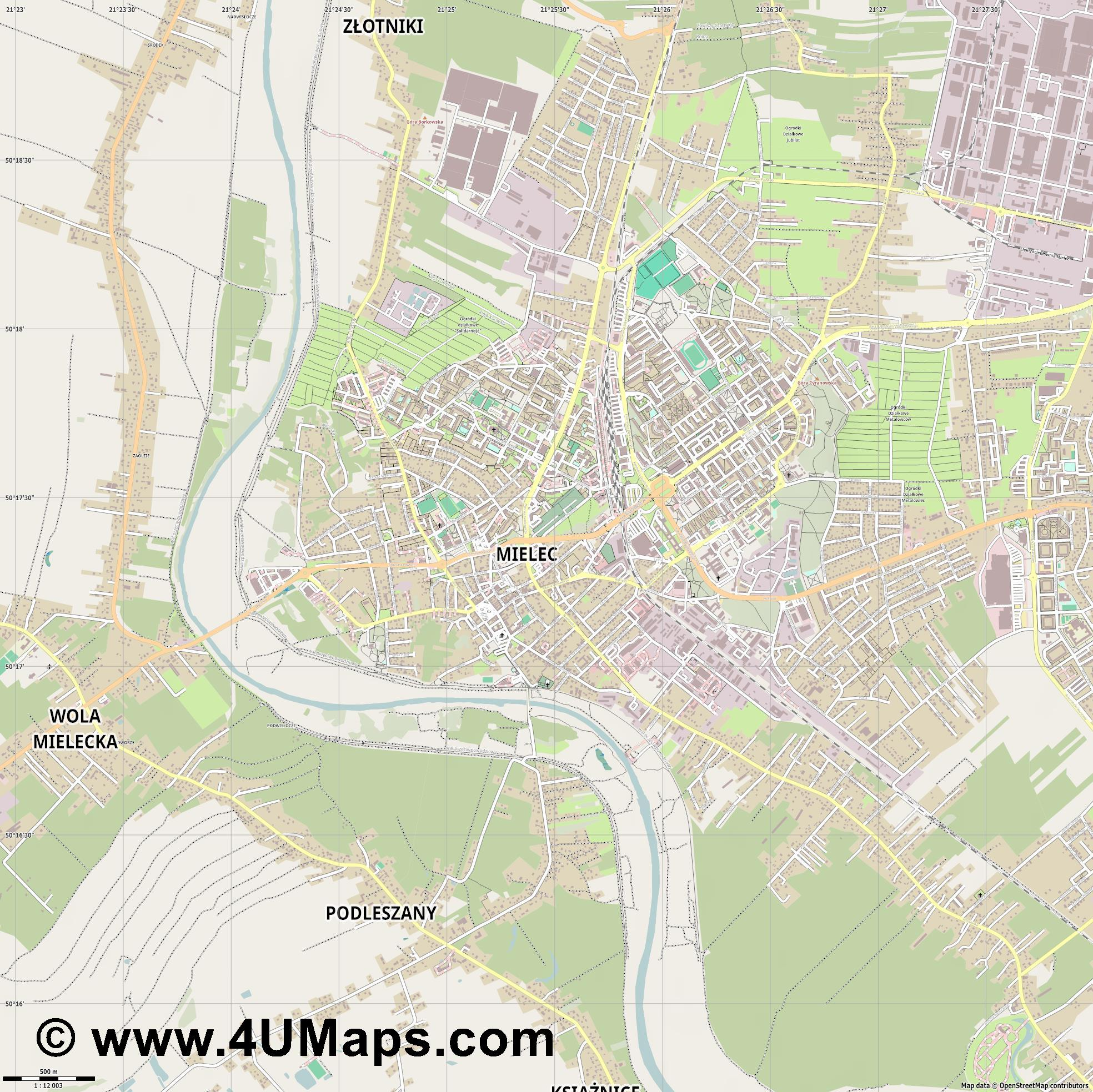 Mielec  jpg ultra high detail preview vector city map