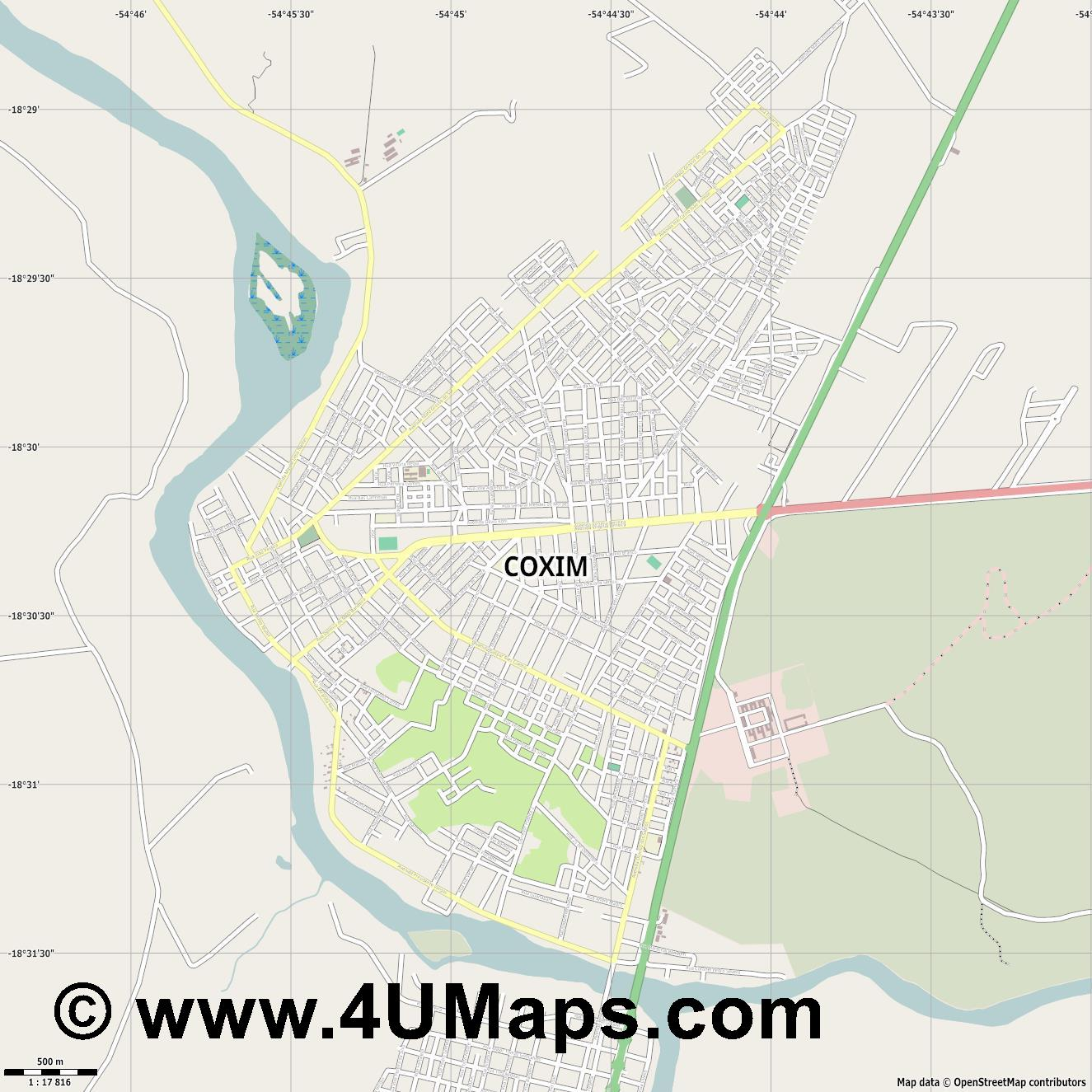 Coxim  jpg ultra high detail preview vector city map