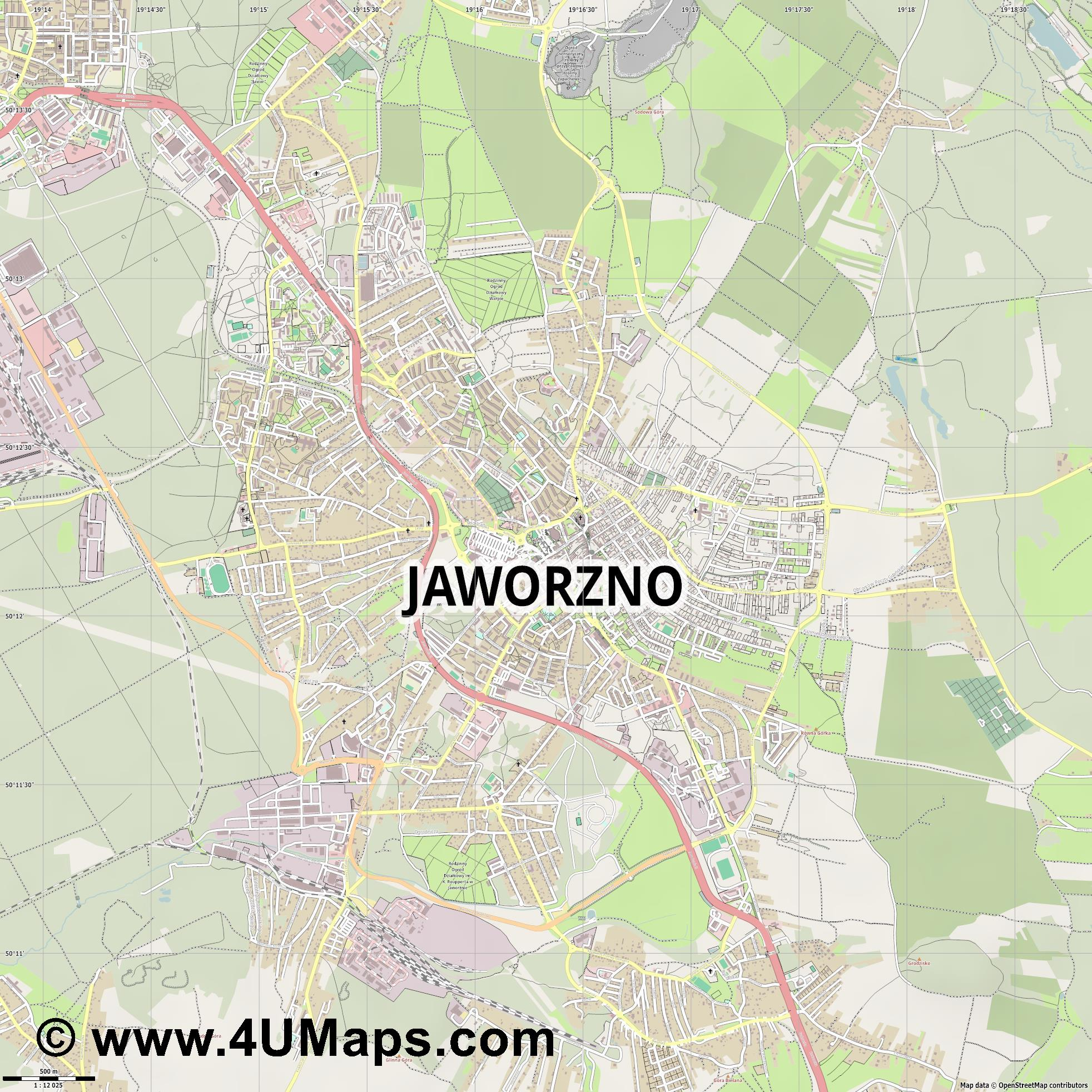 Jaworzno  jpg ultra high detail preview vector city map