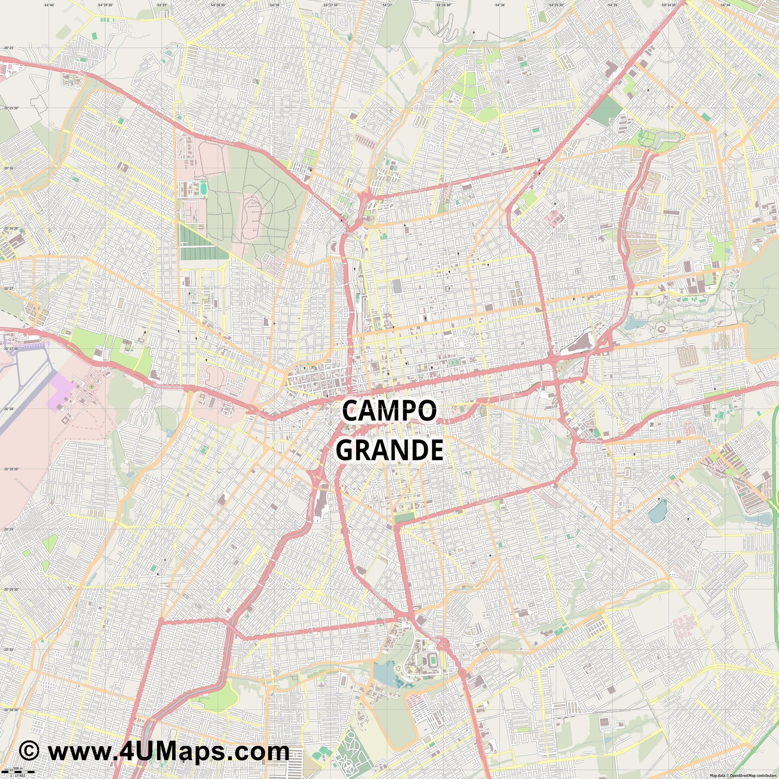 Campo Grande  jpg ultra high detail preview vector city map