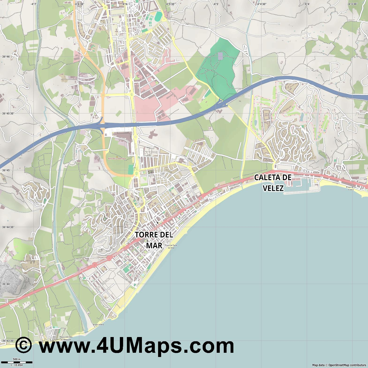 Torre del Mar  jpg ultra high detail preview vector city map