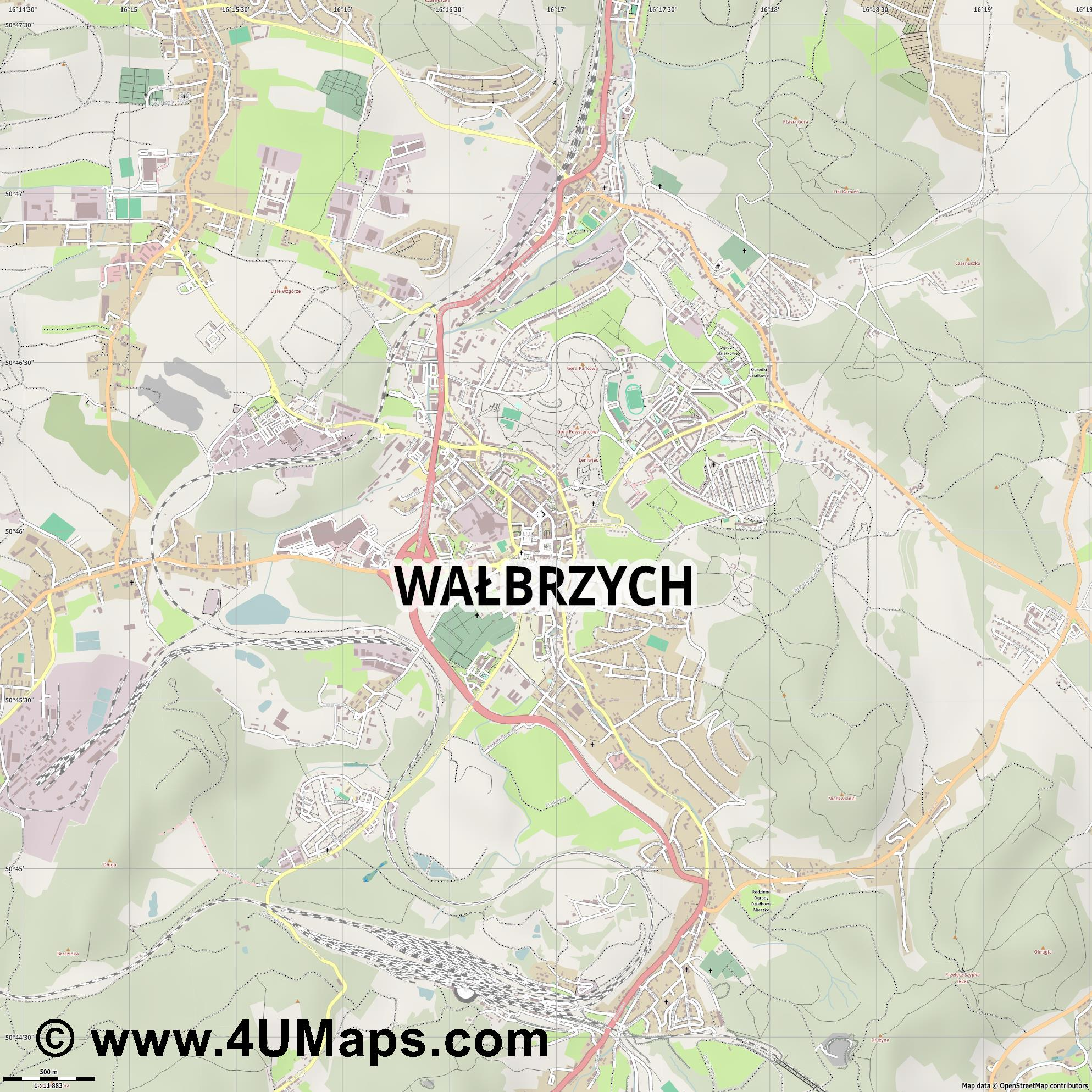 Wałbrzych Waldenburg  jpg ultra high detail preview vector city map