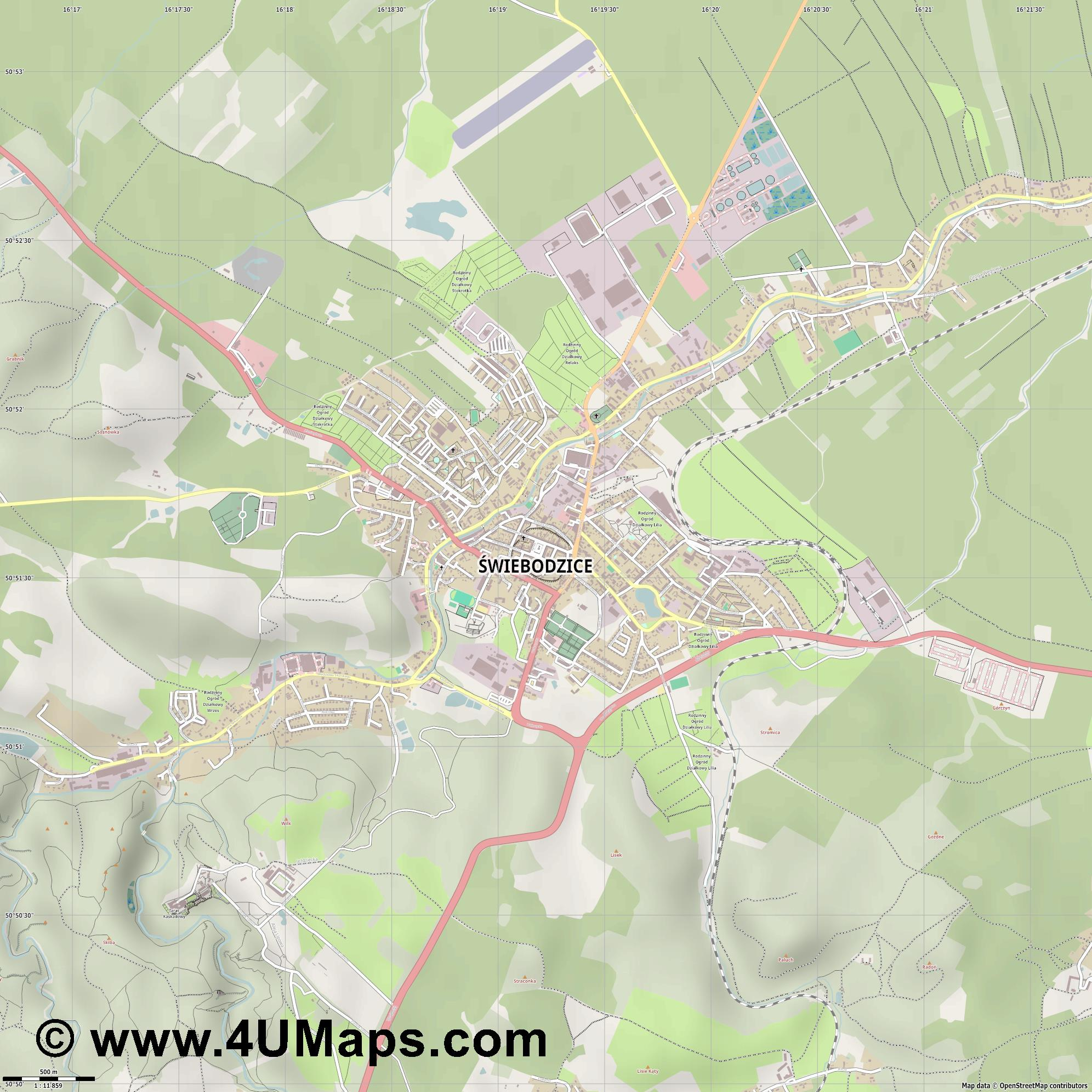 Świebodzice Freiburg  jpg ultra high detail preview vector city map