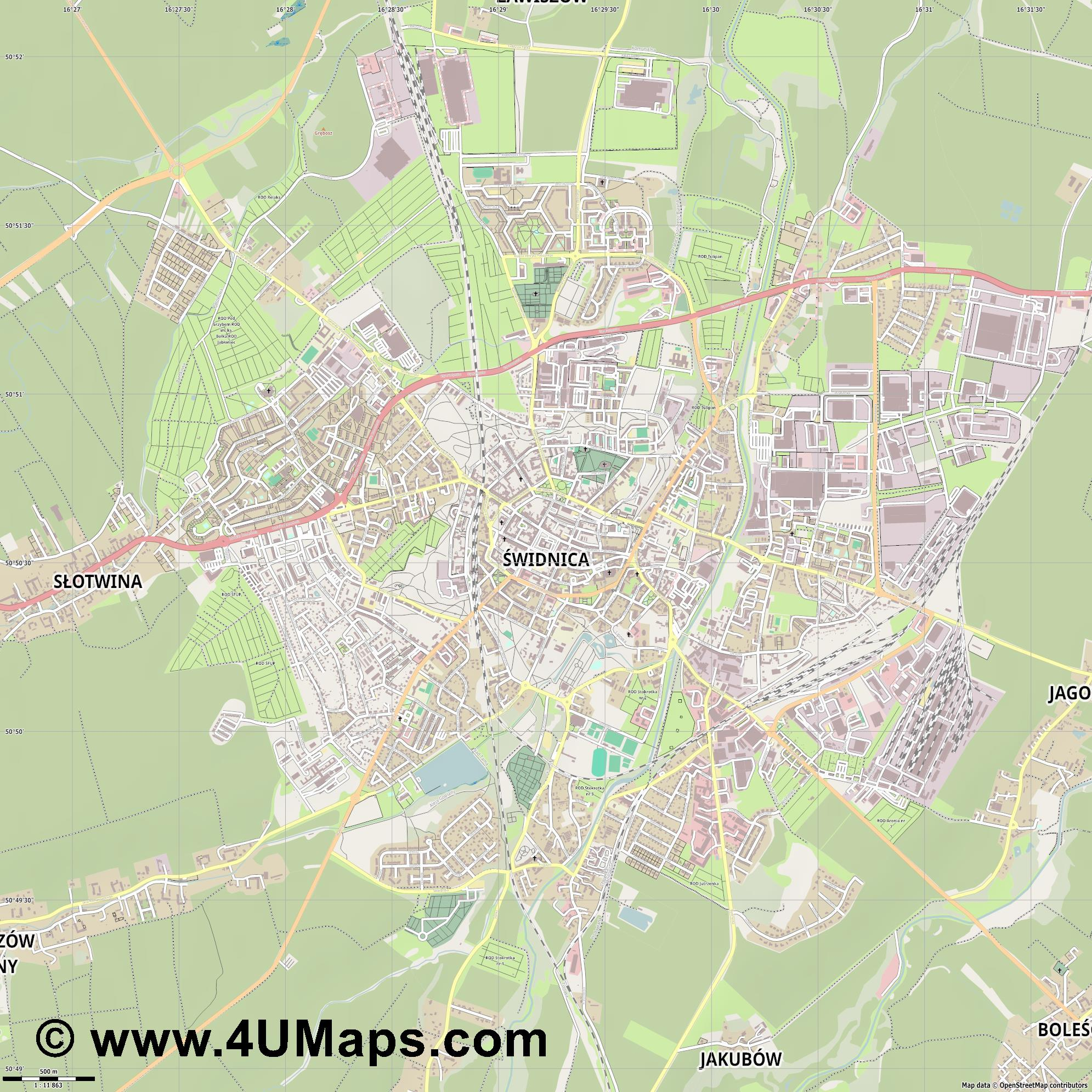Świdnica Schweidnitz  jpg ultra high detail preview vector city map