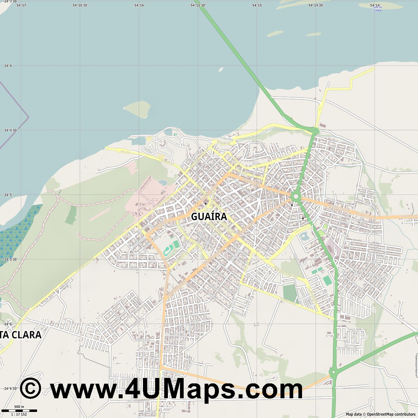 Guaíra Guaira  jpg ultra high detail preview vector city map