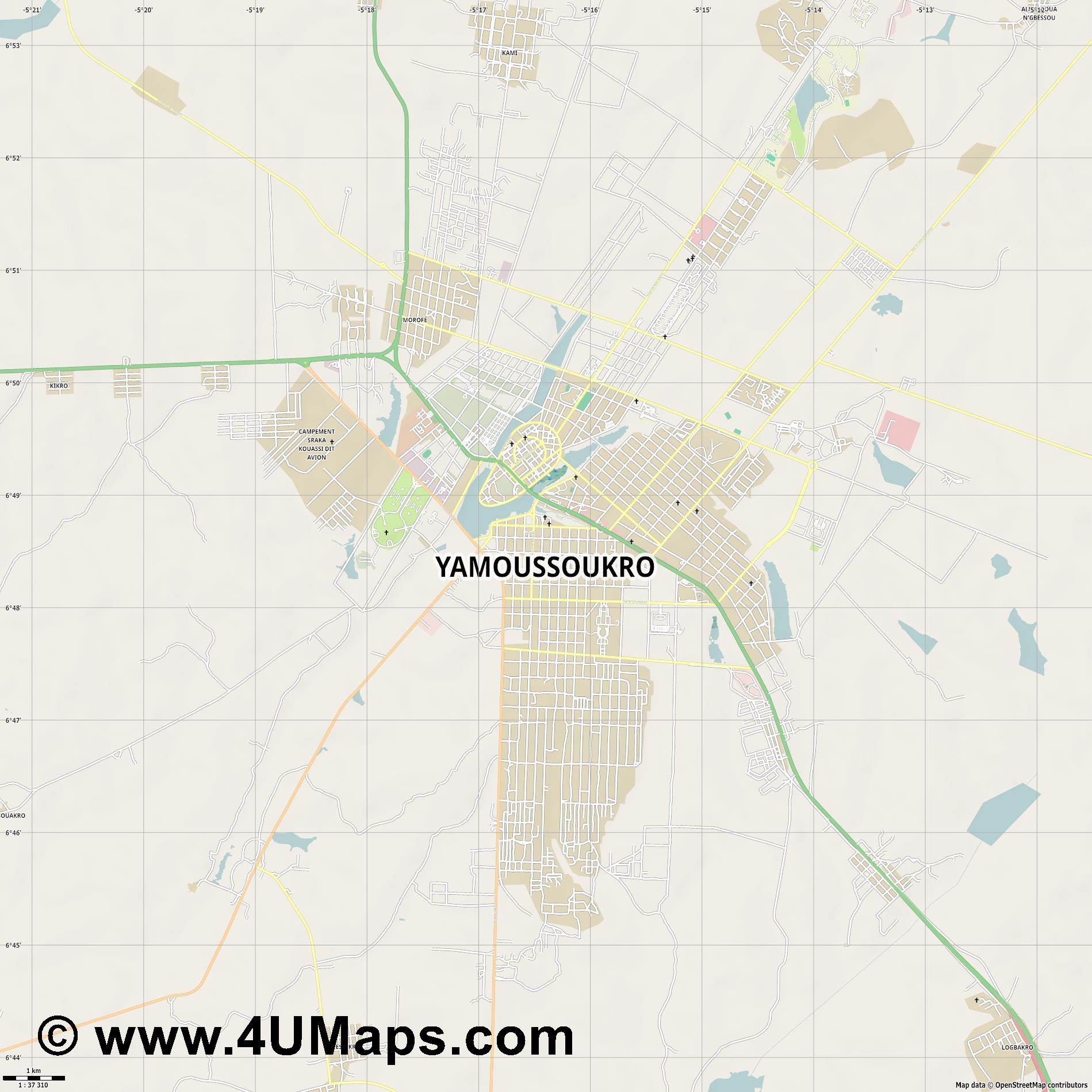 Yamoussoukro Yamusukro  jpg high detail, large area preview vector city map