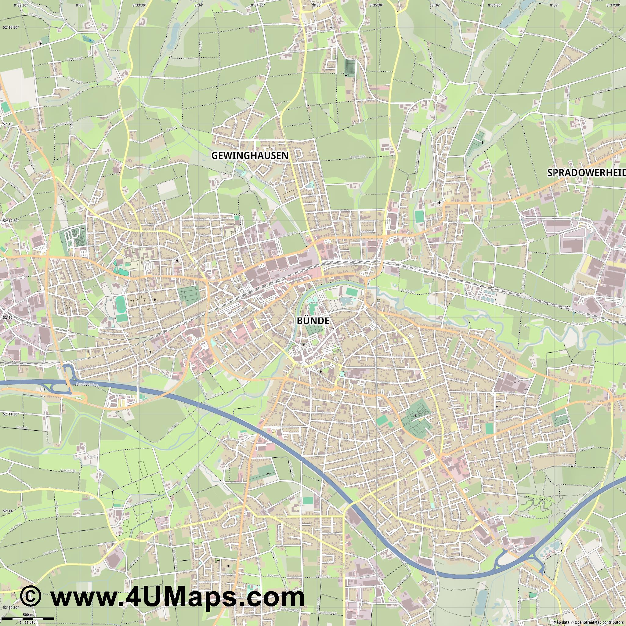 Bünde  jpg ultra high detail preview vector city map