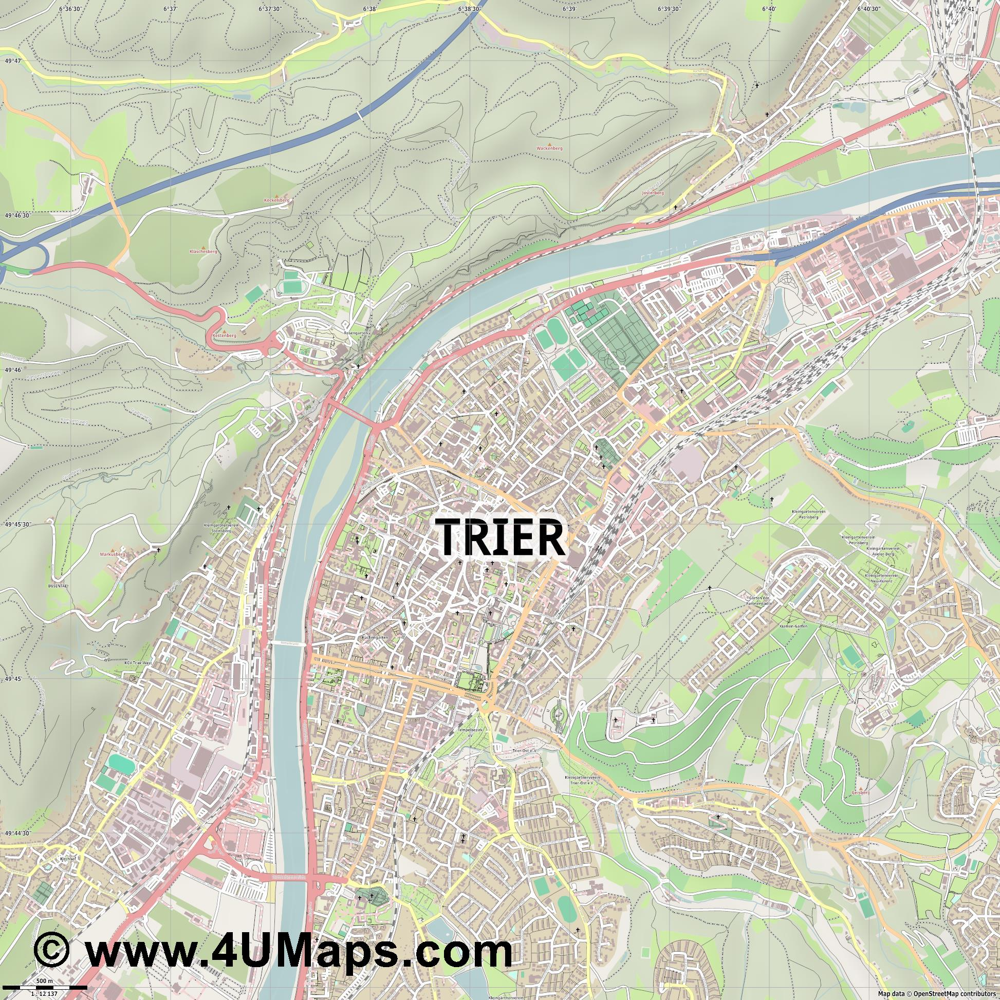 Trier Tréveris Trèves Treviri  jpg ultra high detail preview vector city map
