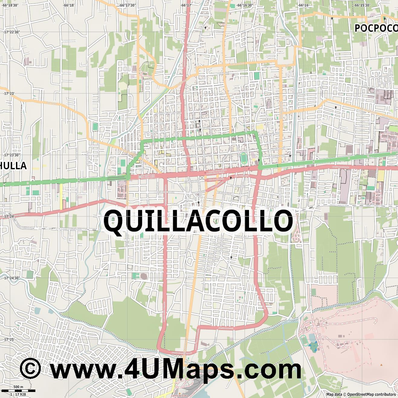 Quillacollo  jpg ultra high detail preview vector city map