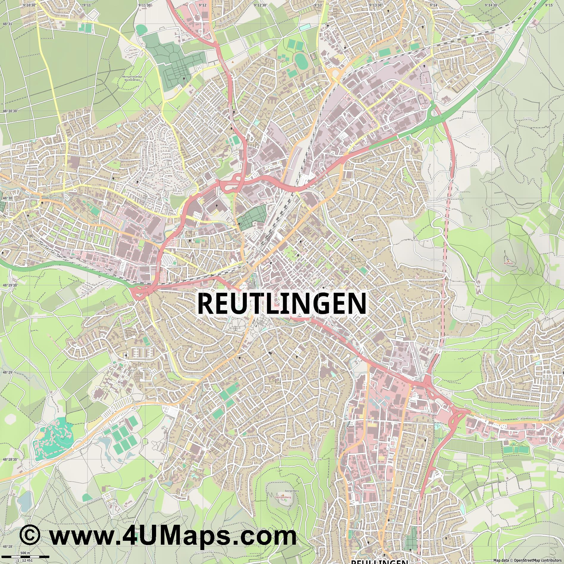 Reutlingen  jpg ultra high detail preview vector city map