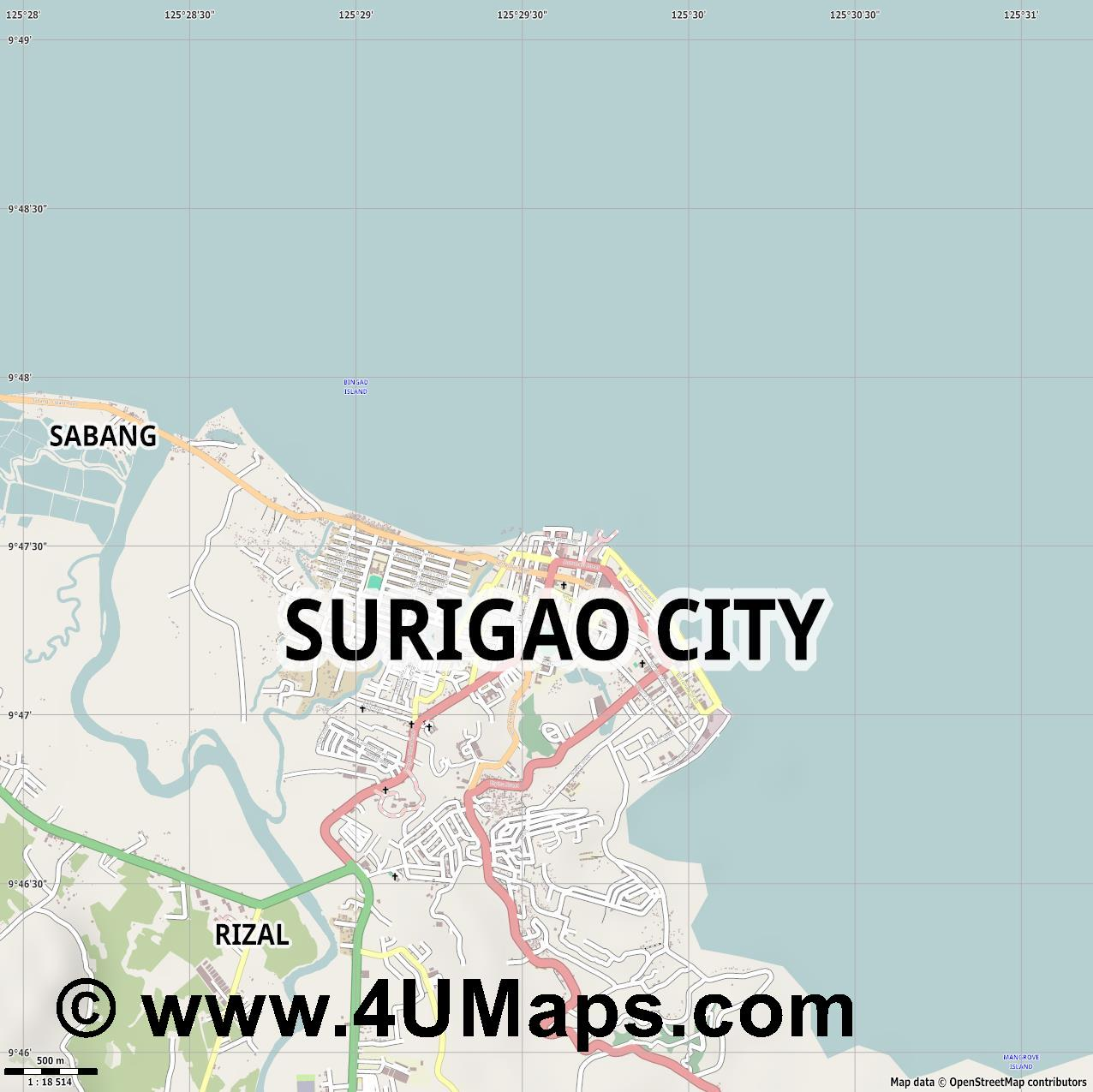 Surigao  jpg ultra high detail preview vector city map