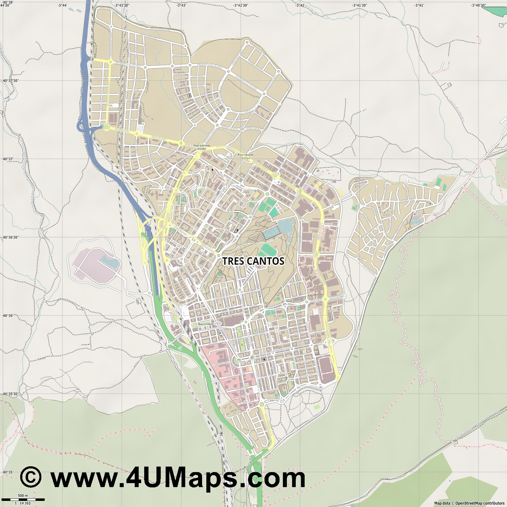 Tres Cantos  jpg ultra high detail preview vector city map