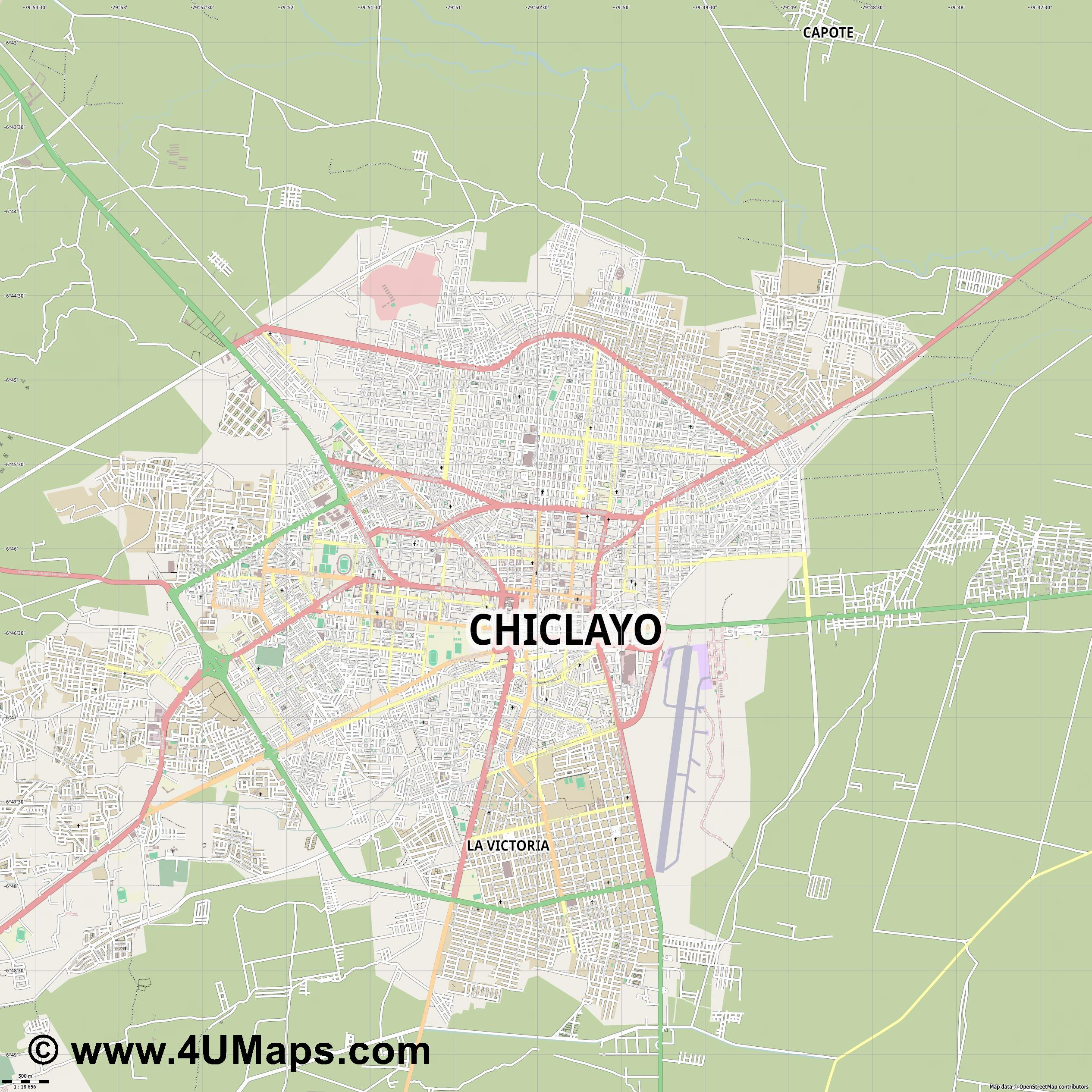 Chiclayo  jpg ultra high detail preview vector city map