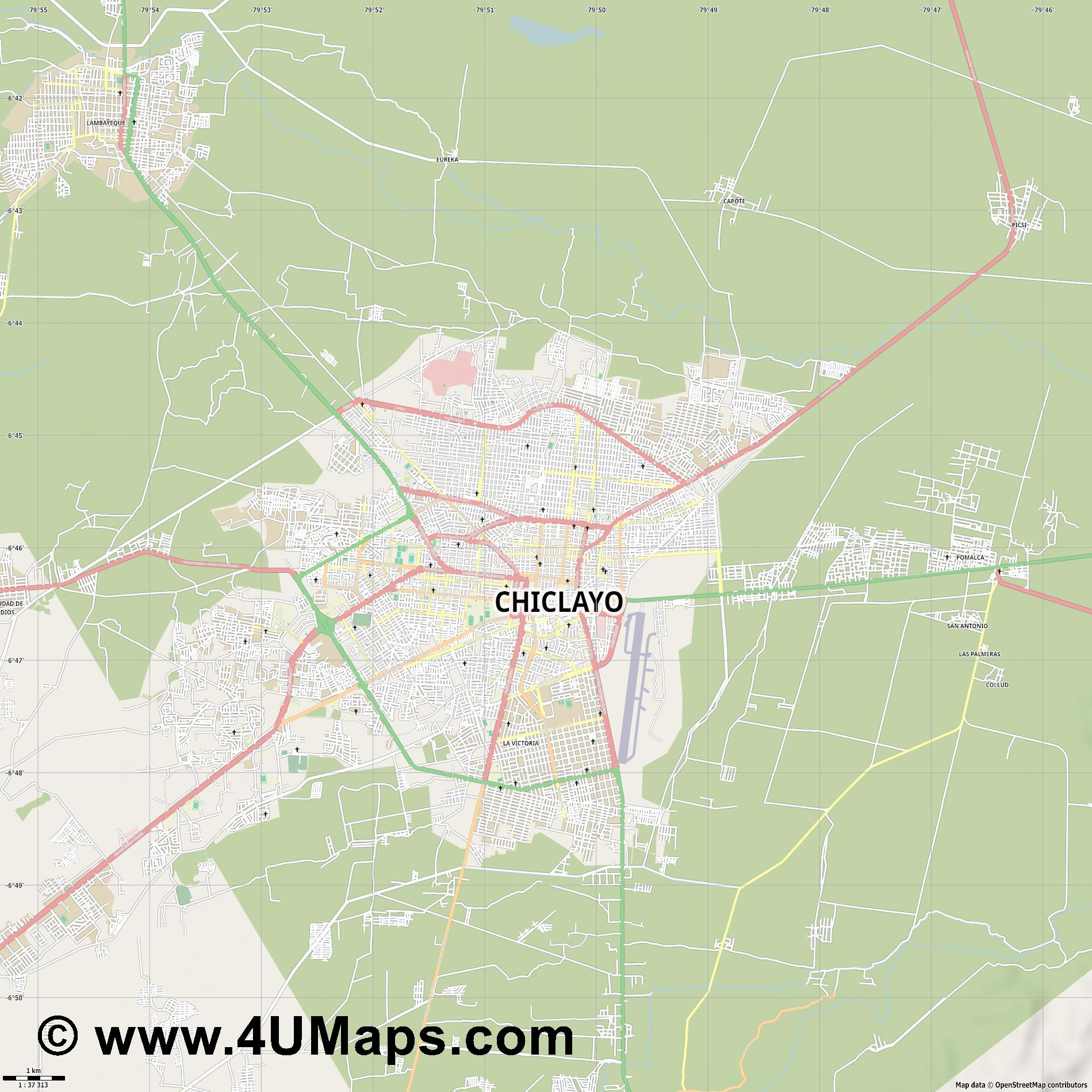 Chiclayo  jpg high detail, large area preview vector city map