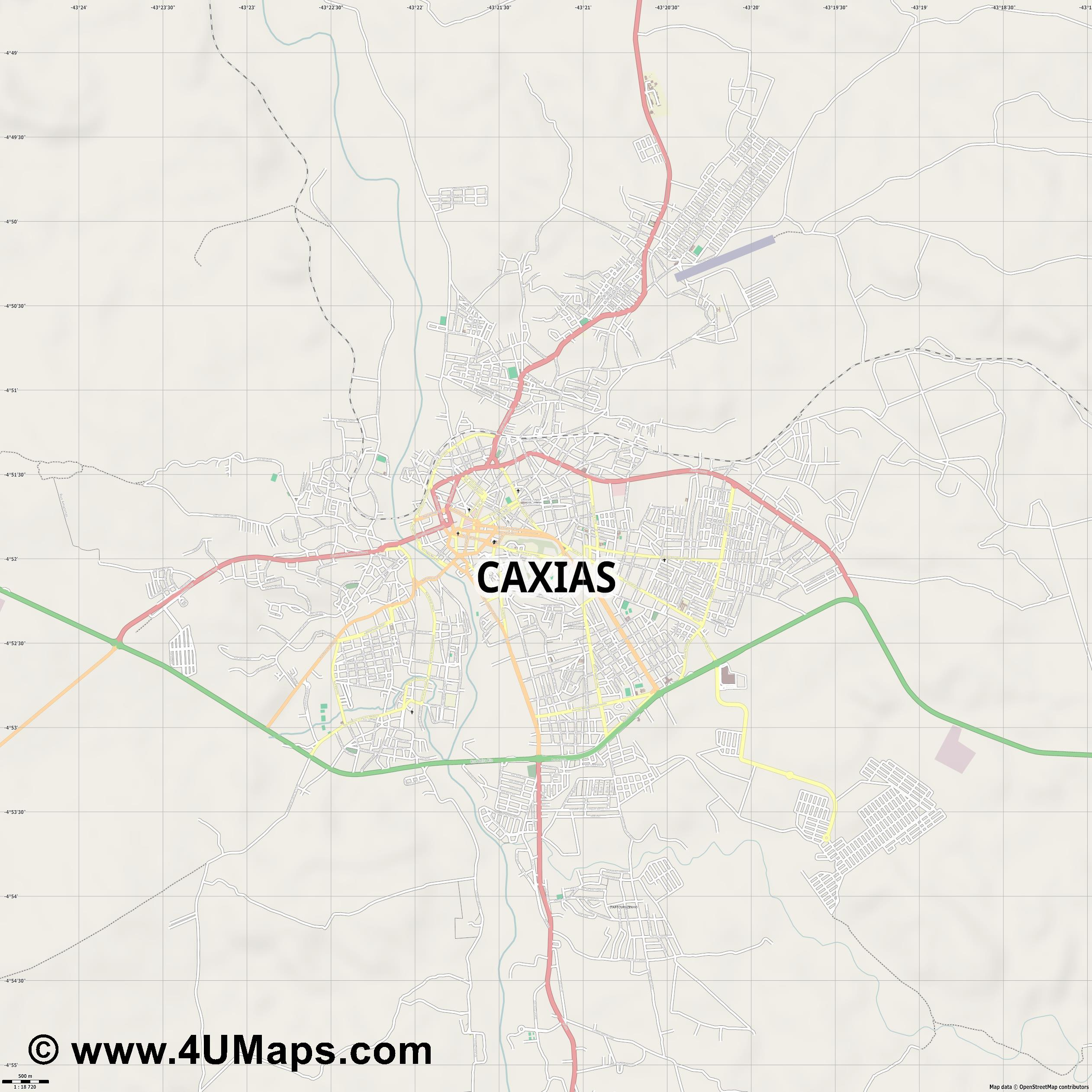 Caxias  jpg ultra high detail preview vector city map