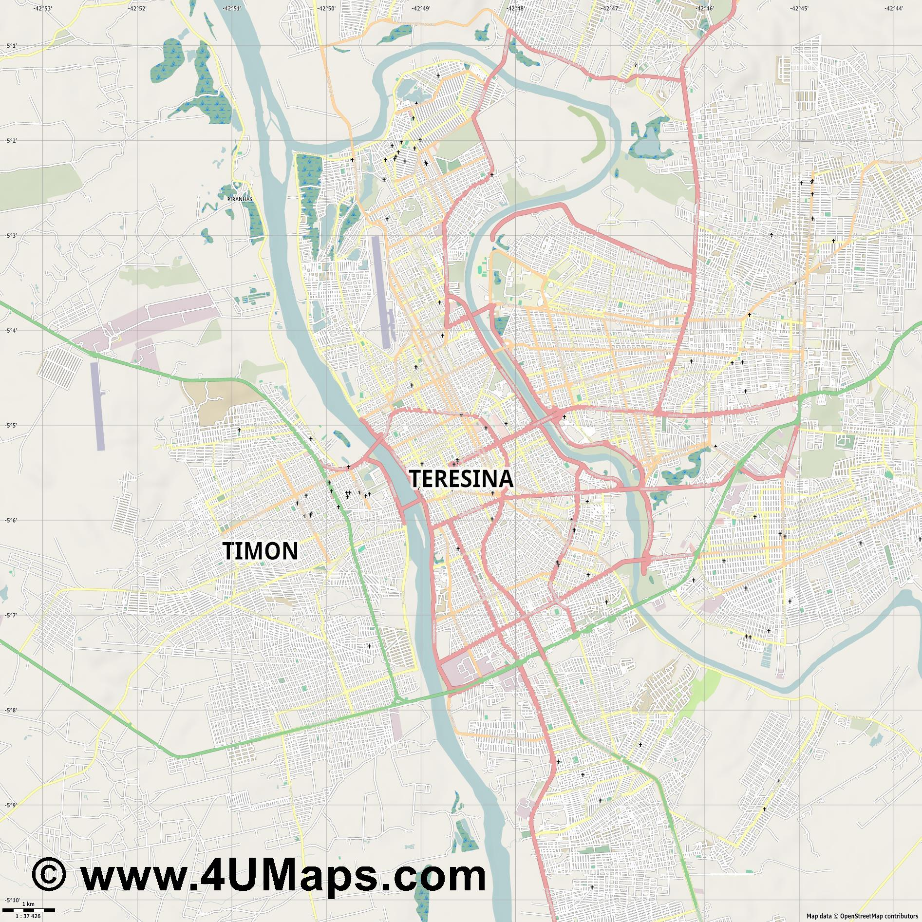 Teresina  jpg high detail, large area preview vector city map