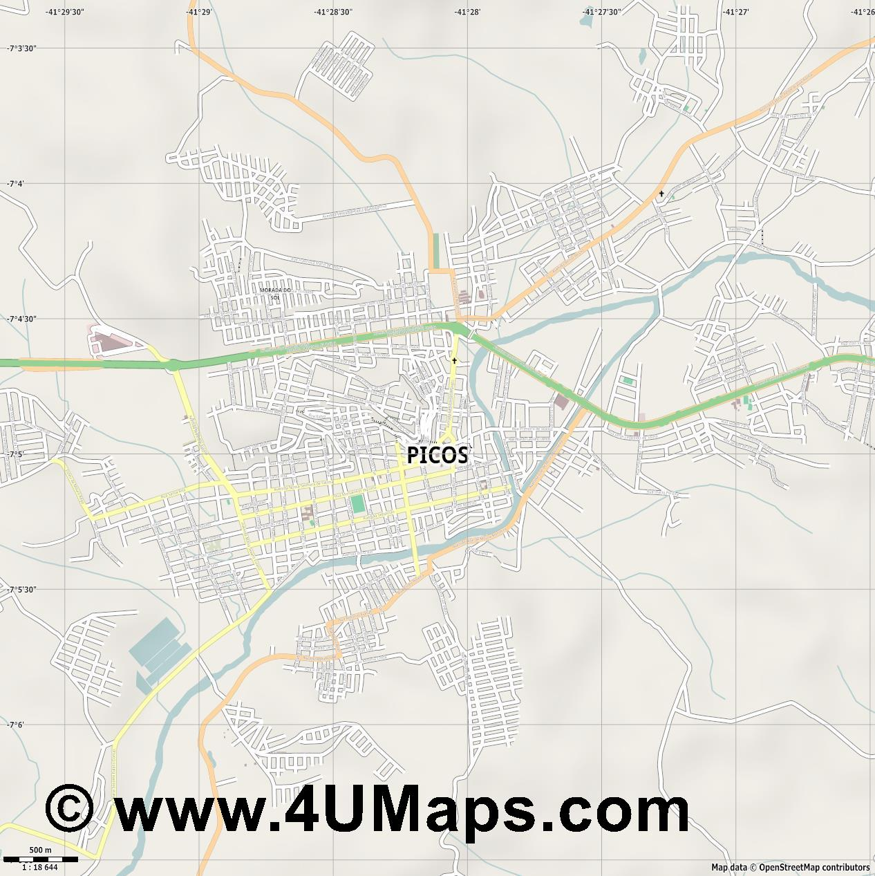 Picos  jpg ultra high detail preview vector city map