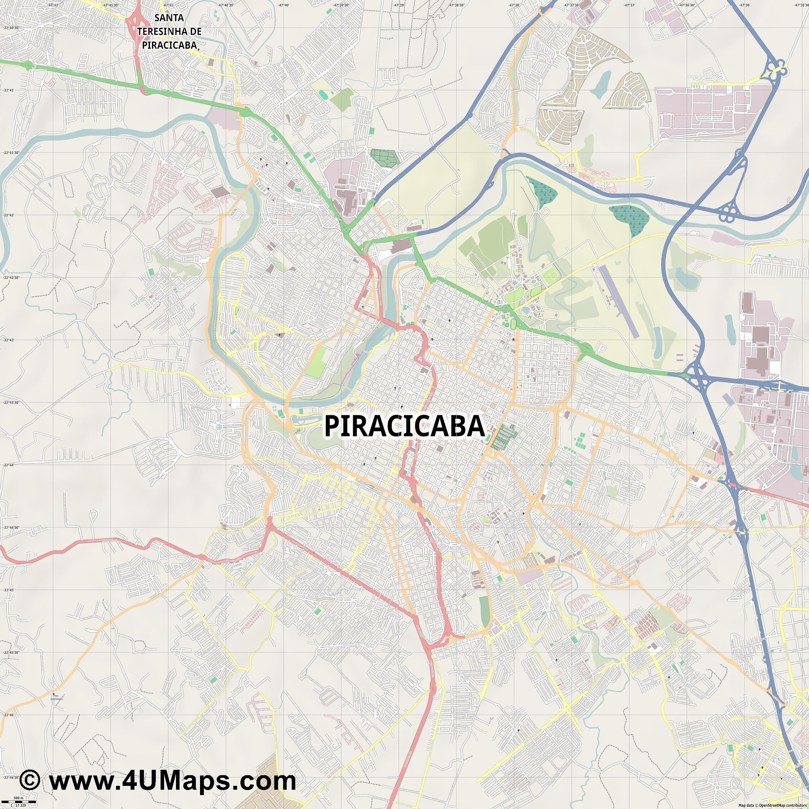 Piracicaba  jpg ultra high detail preview vector city map