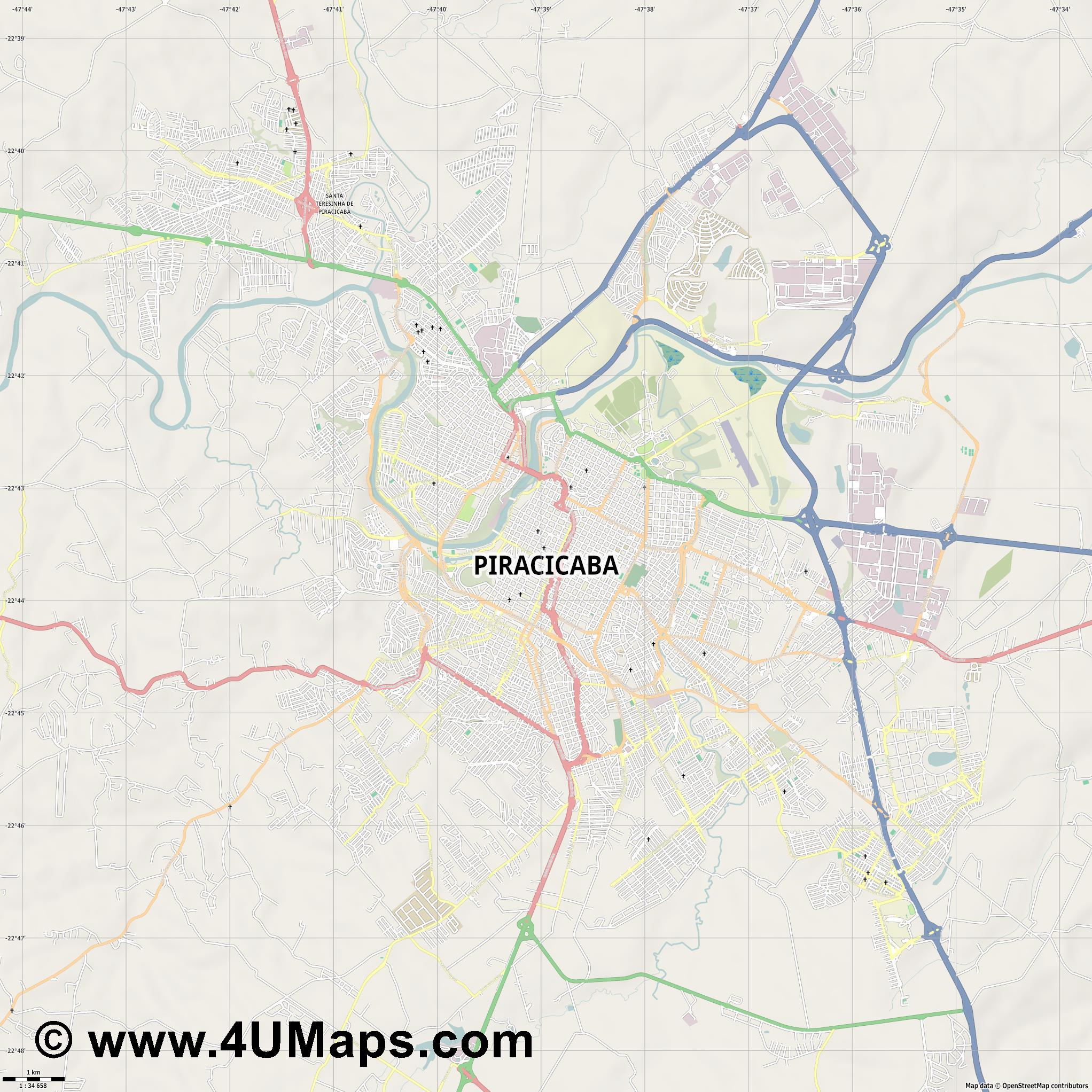 Piracicaba  jpg high detail, large area preview vector city map