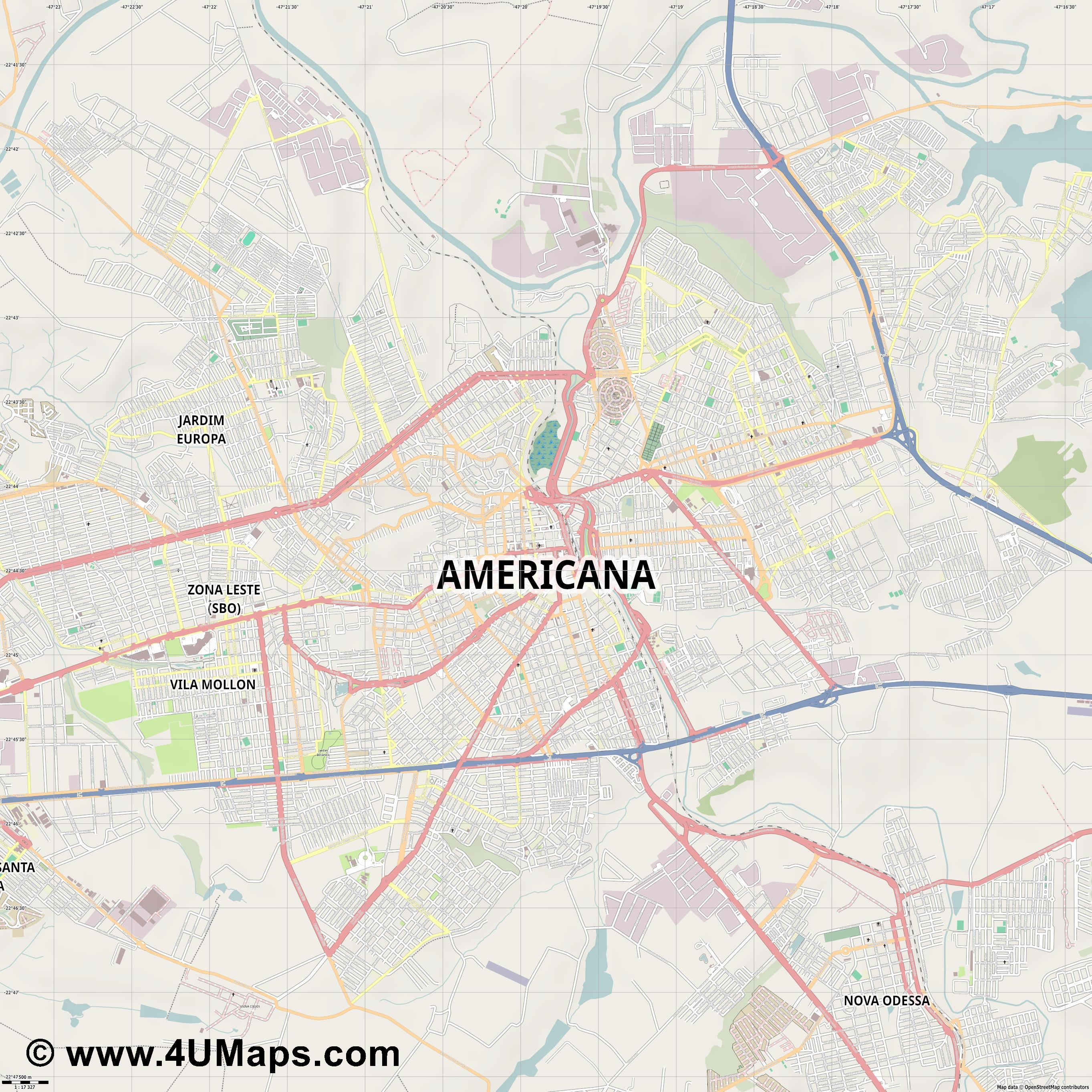 Americana  jpg ultra high detail preview vector city map