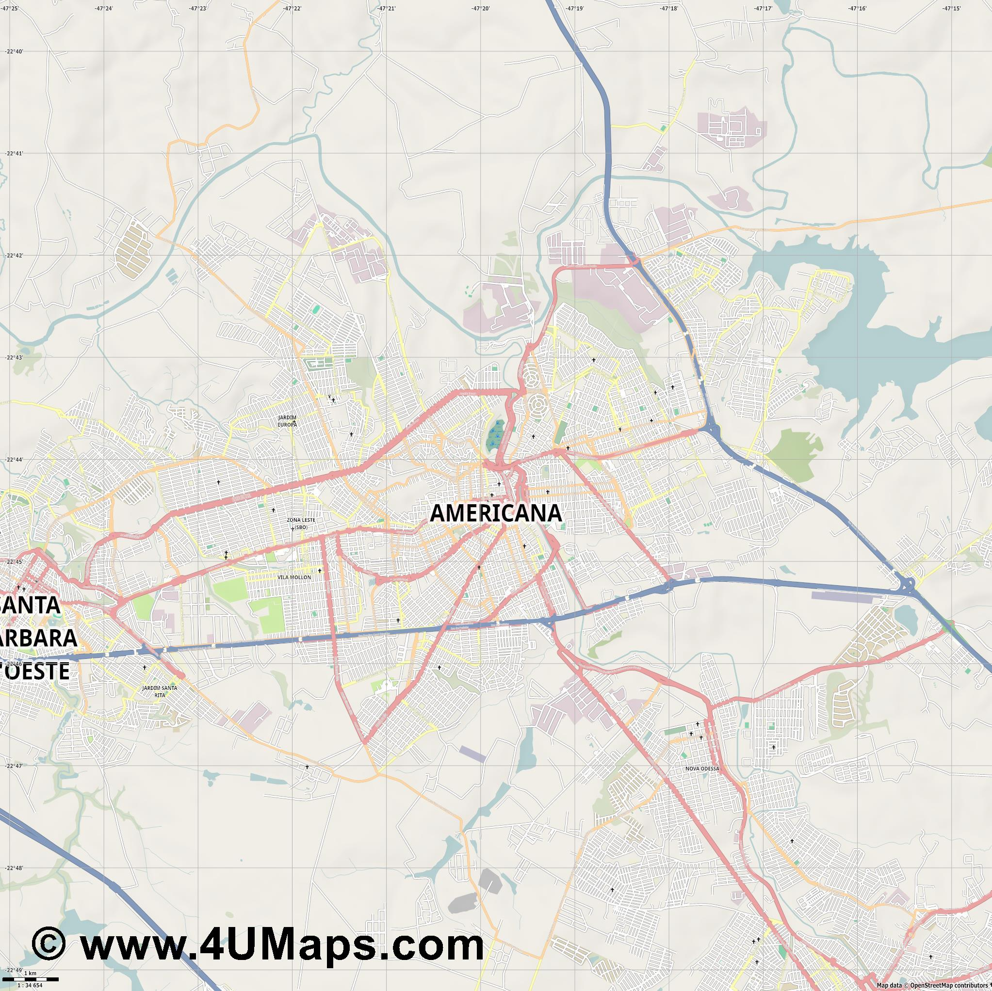 Americana  jpg high detail, large area preview vector city map