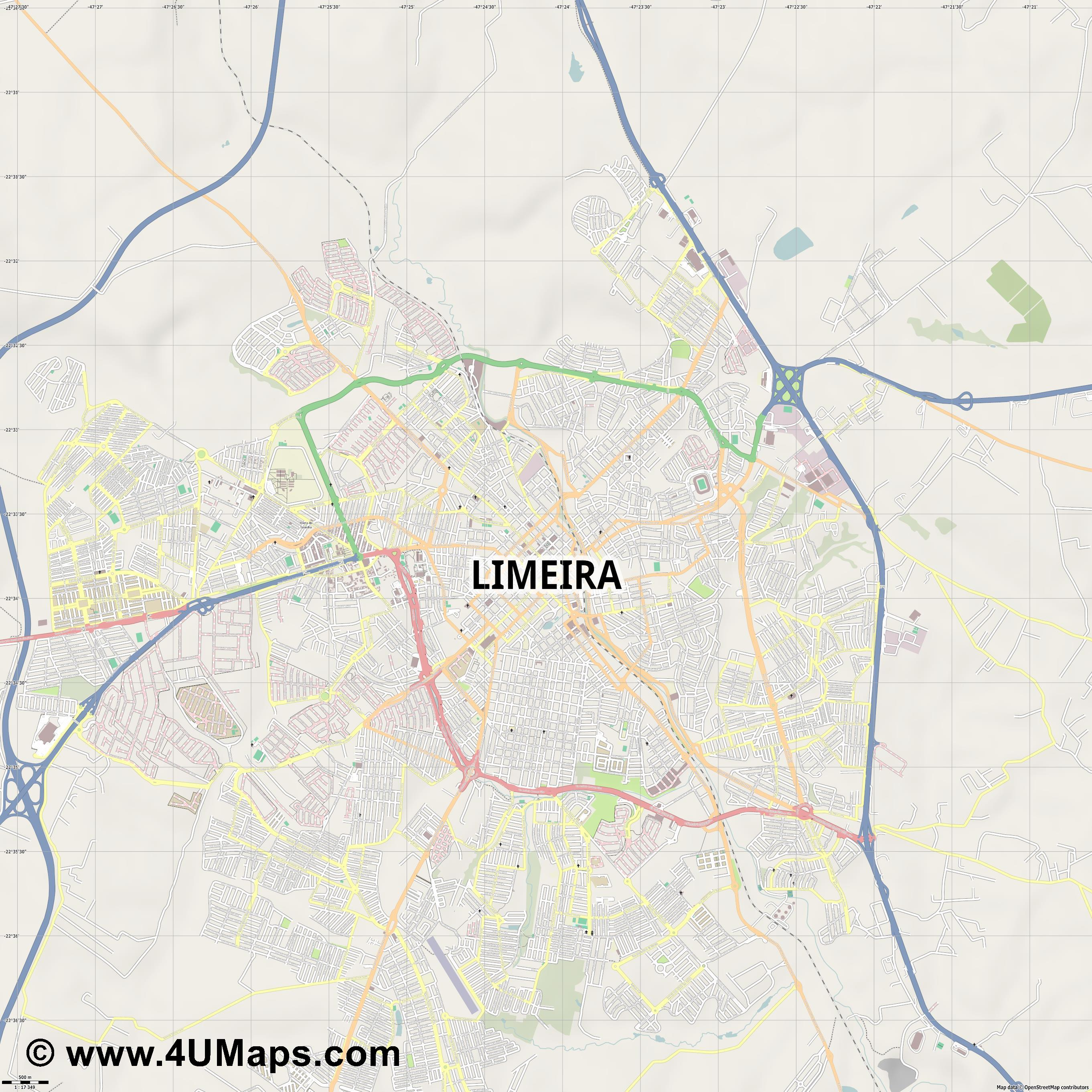 Limeira  jpg ultra high detail preview vector city map