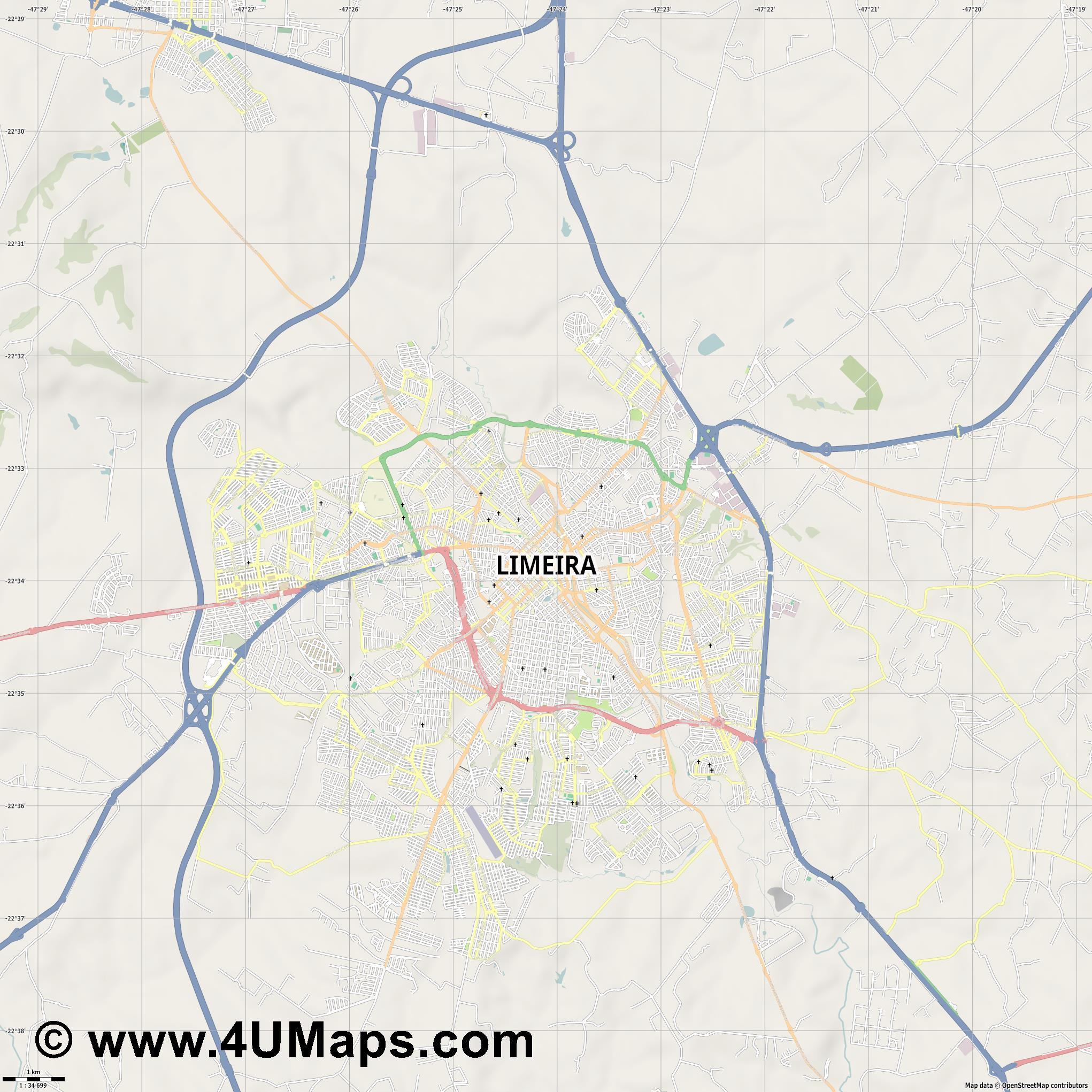 Limeira  jpg high detail, large area preview vector city map