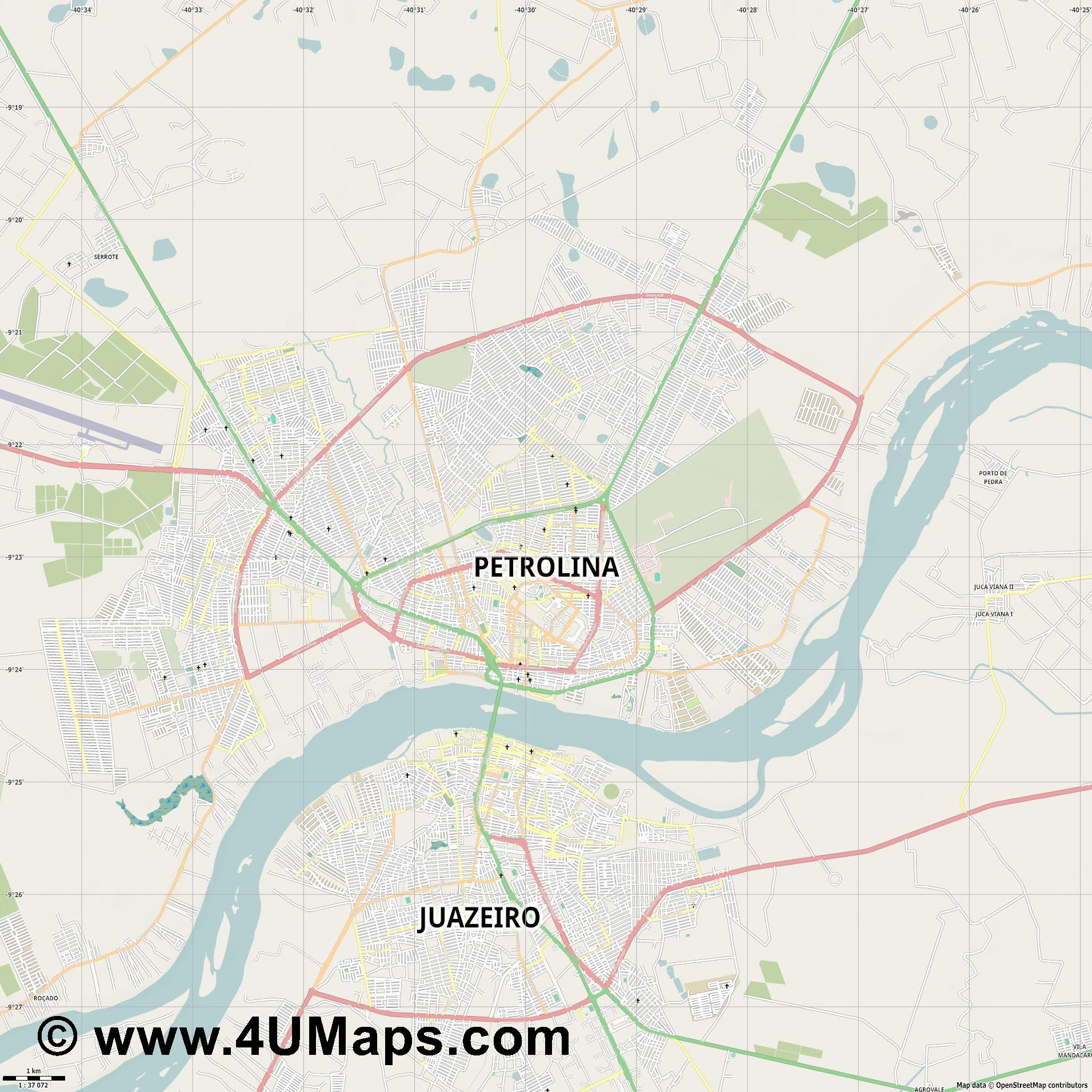 Petrolina  jpg high detail, large area preview vector city map