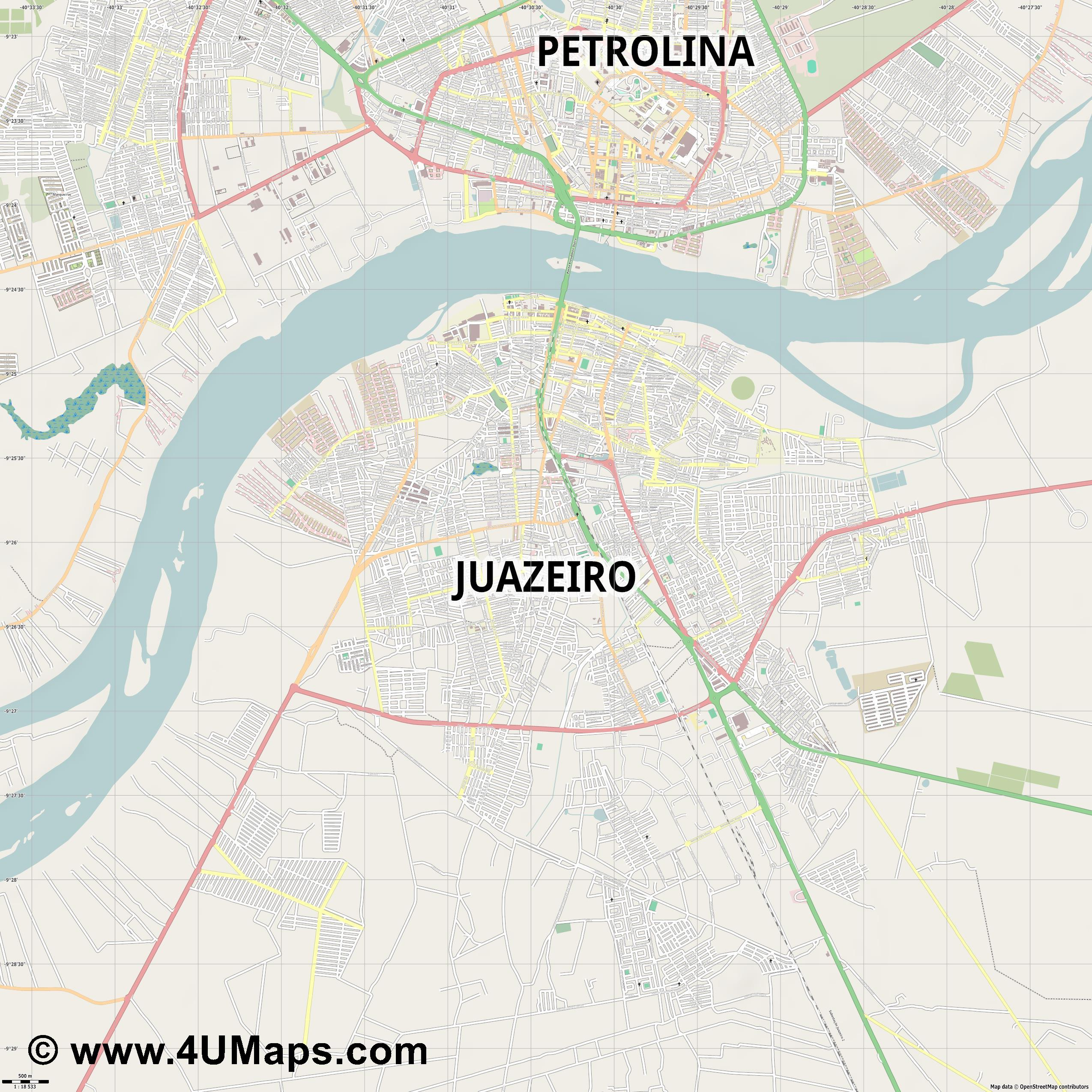Juazeiro  jpg ultra high detail preview vector city map