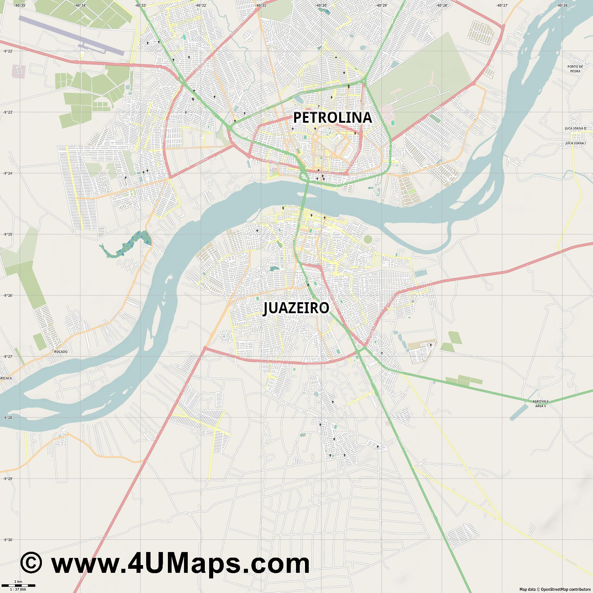 Juazeiro  jpg high detail, large area preview vector city map