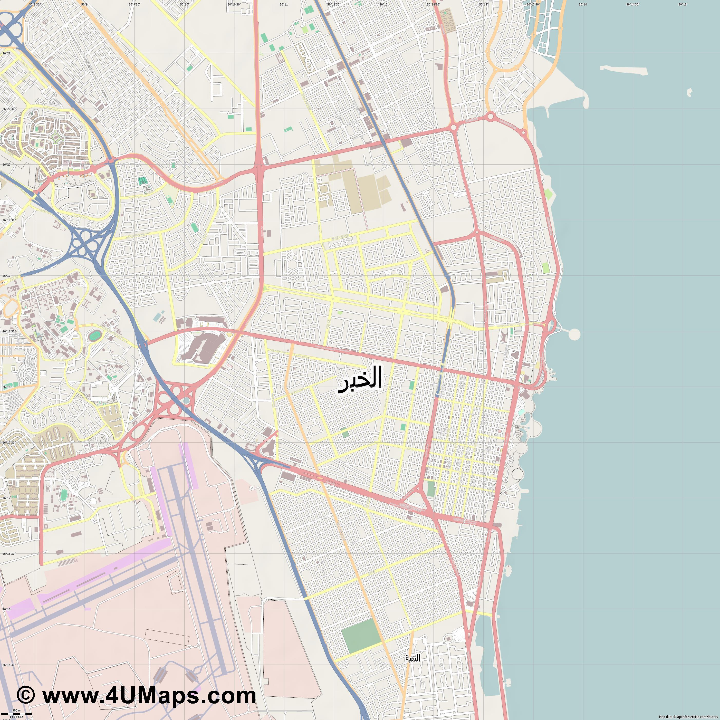 الخبر Al Khobar  jpg ultra high detail preview vector city map