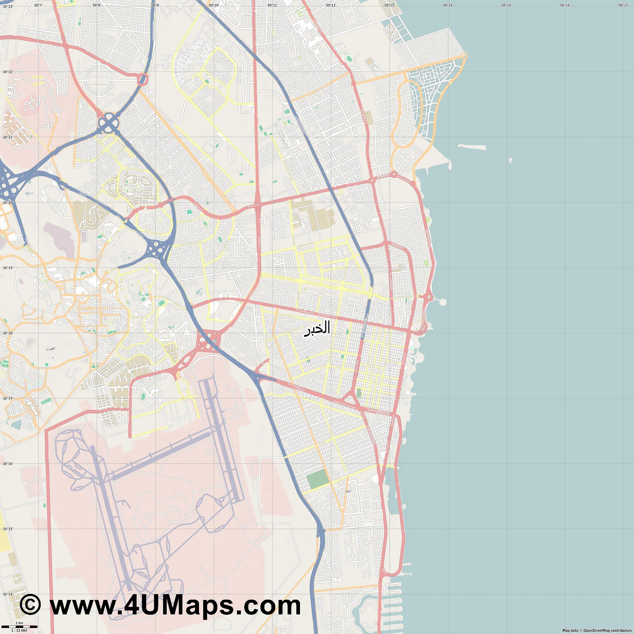 الخبر Al Khobar  jpg high detail, large area preview vector city map