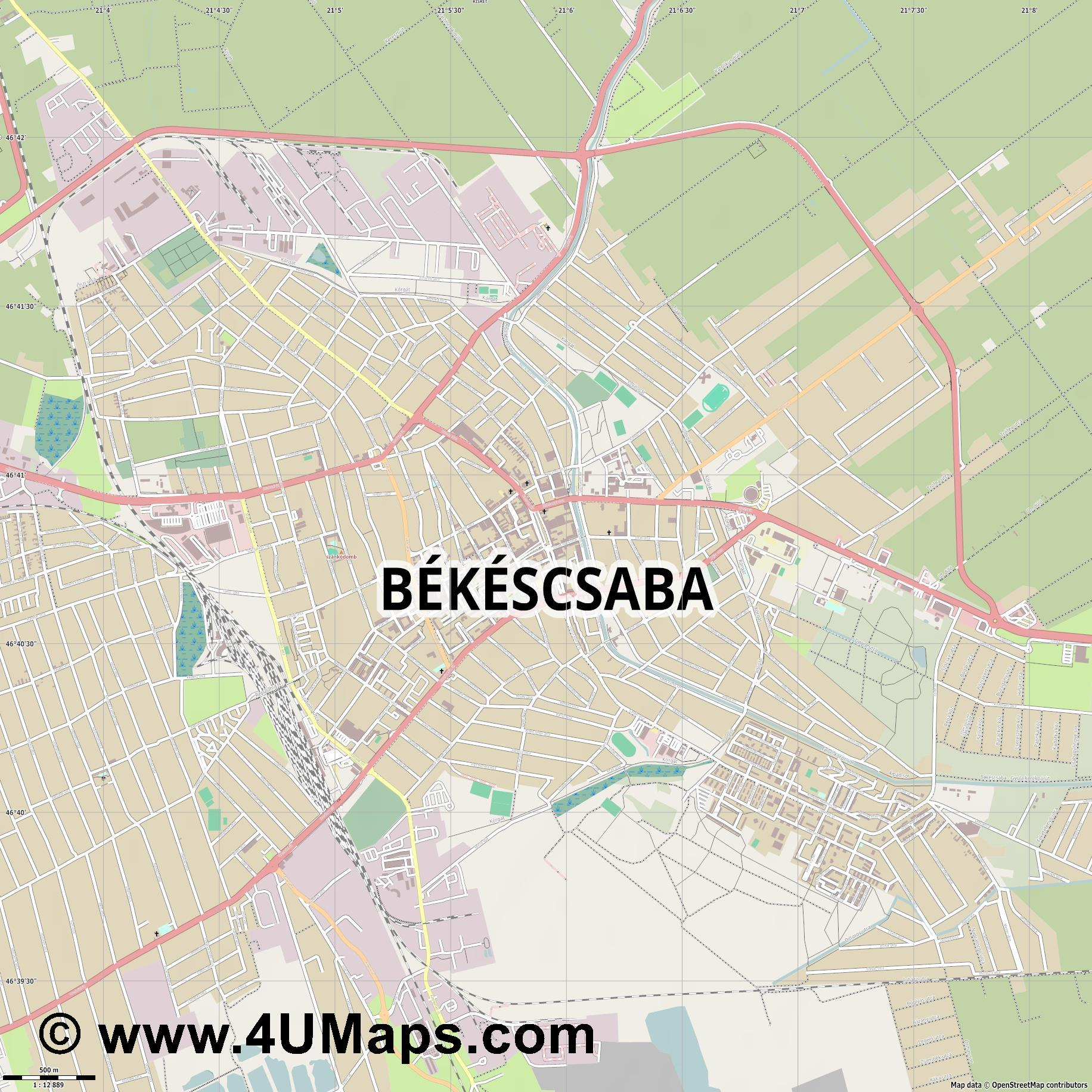 Békéscsaba Tschabe  jpg ultra high detail preview vector city map