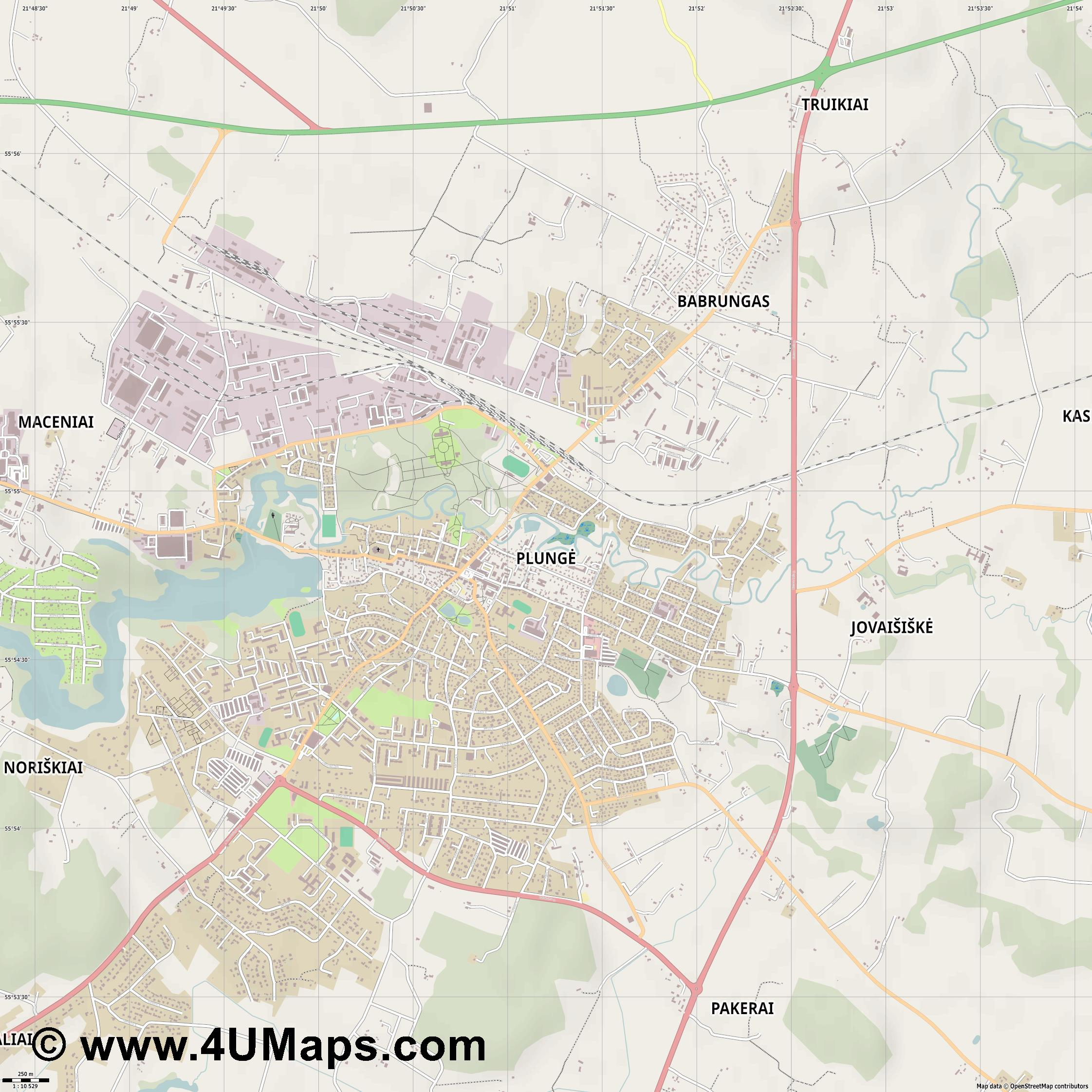 Plungė  jpg ultra high detail preview vector city map