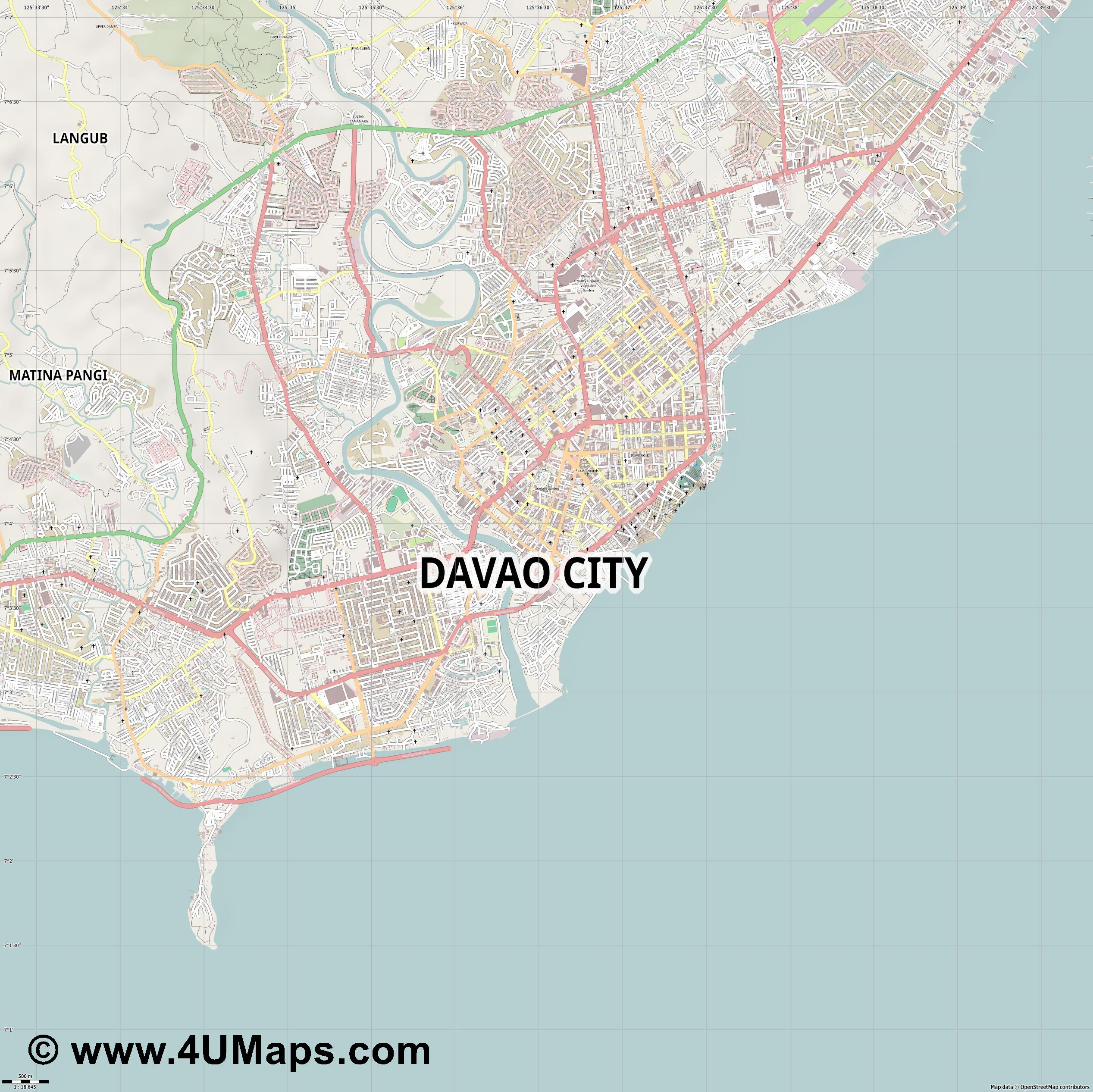 PDF, Svg Scalable Vector City Map Davao City Davao City Map on