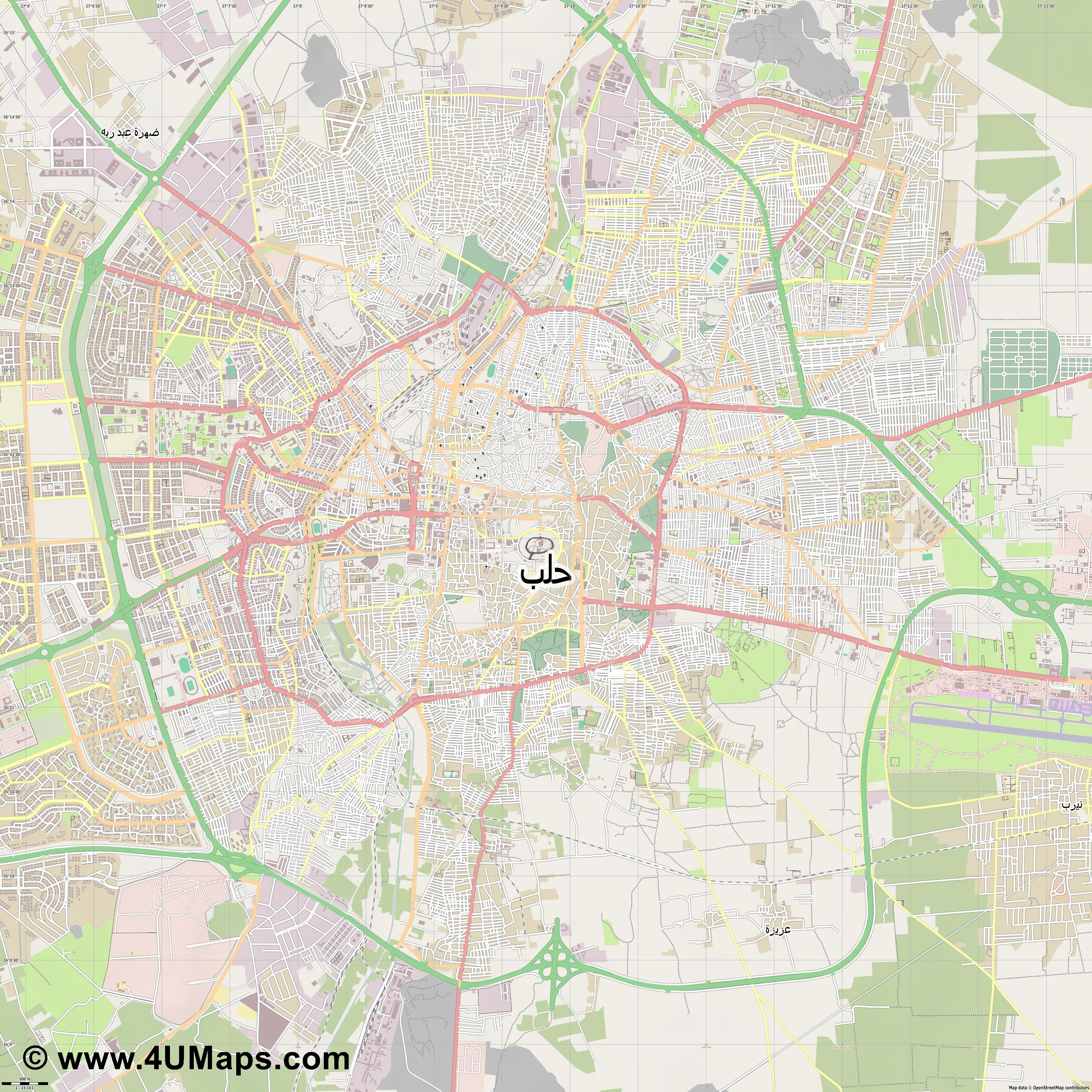 Svg Scalable Vector City Map حلب - Aleppo map