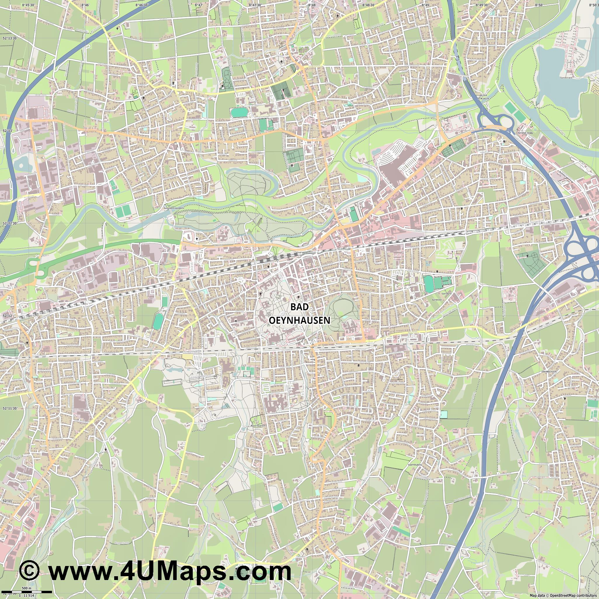 Bad Oeynhausen  jpg ultra high detail preview vector city map