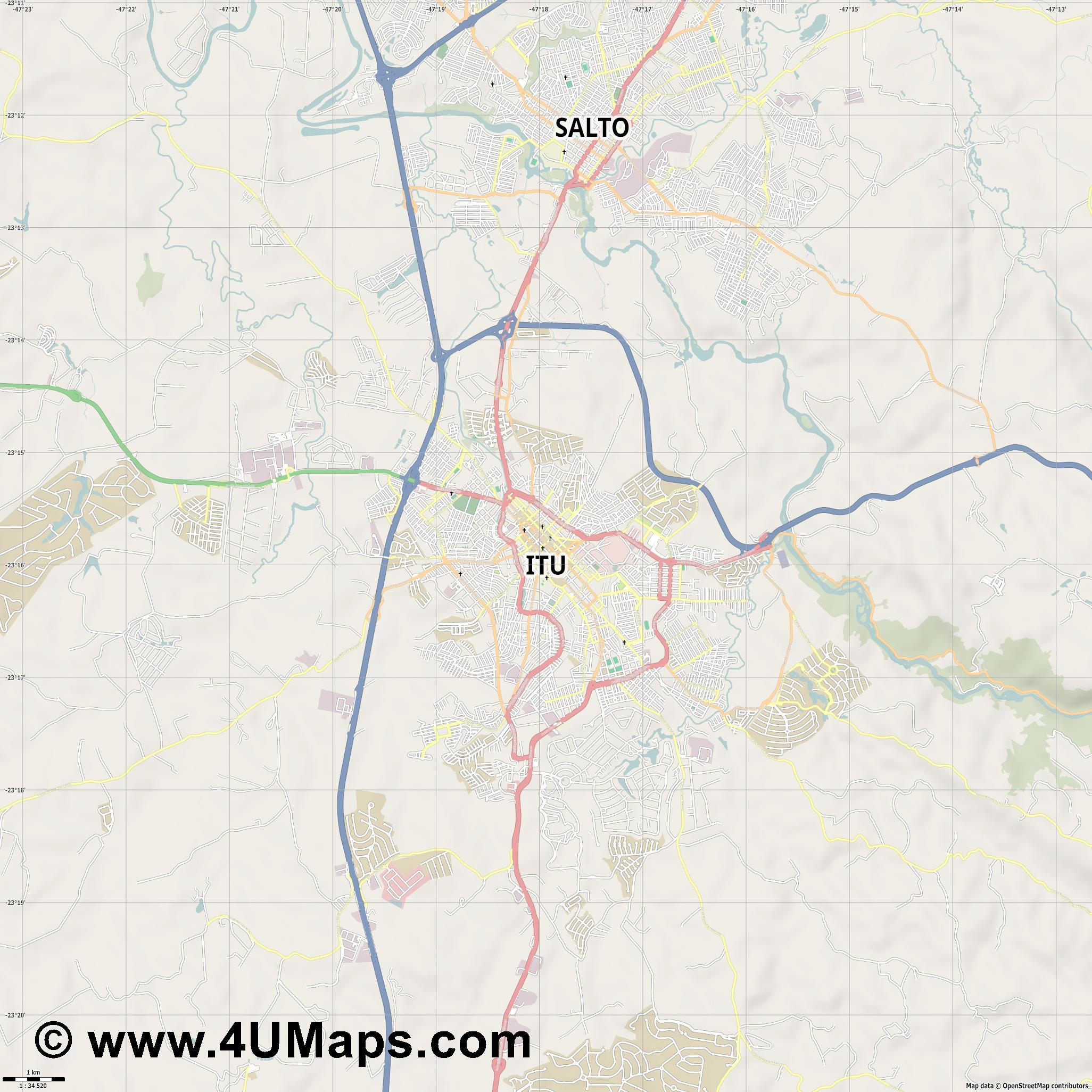 Itu  jpg high detail, large area preview vector city map