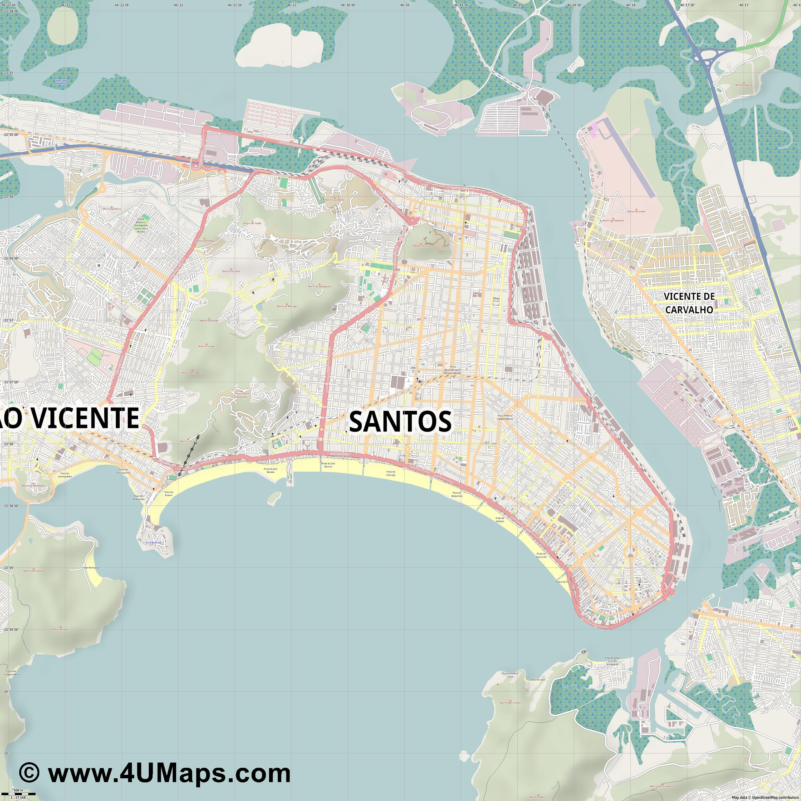 Santos  jpg ultra high detail preview vector city map