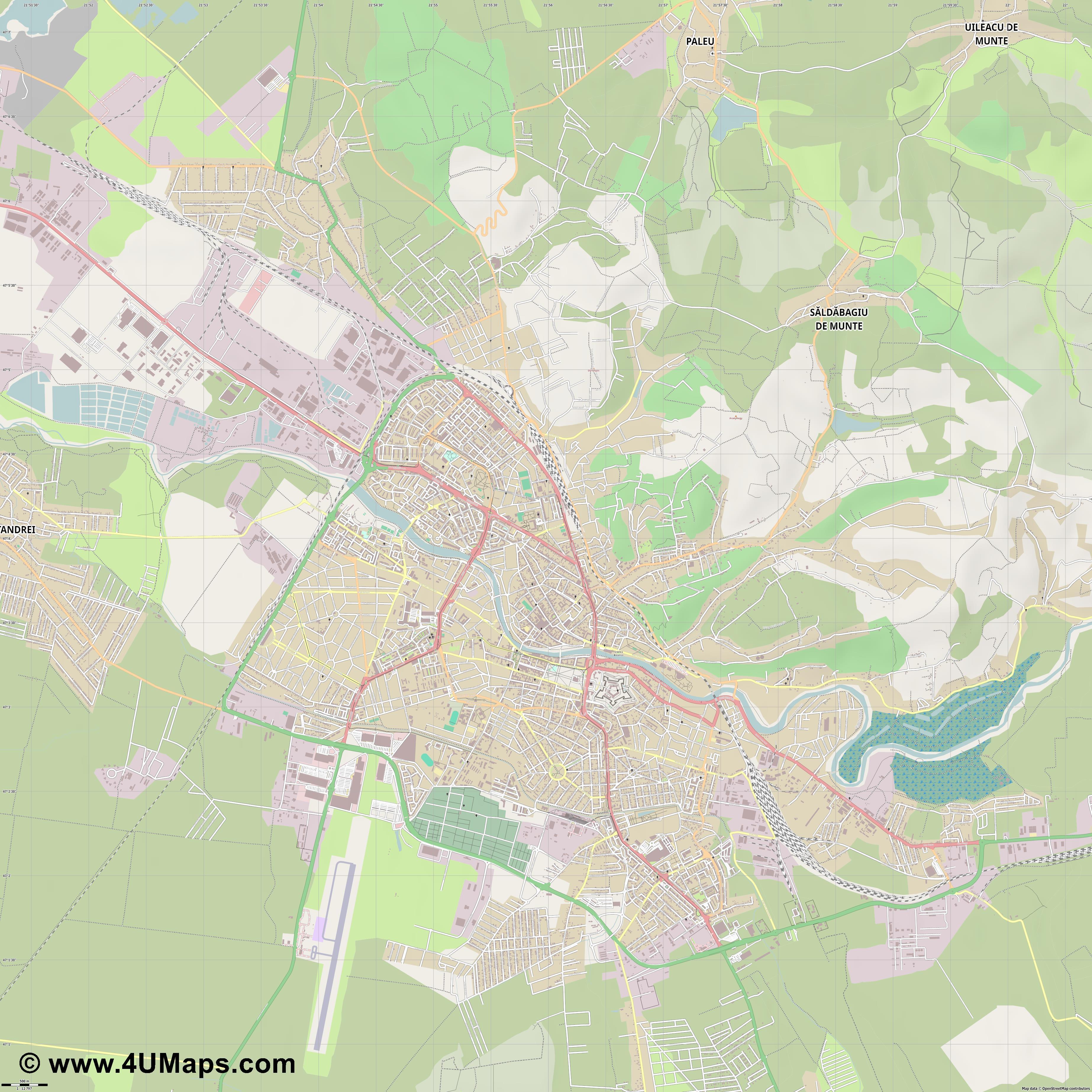 PDF Svg Scalable Vector City Map Oradea