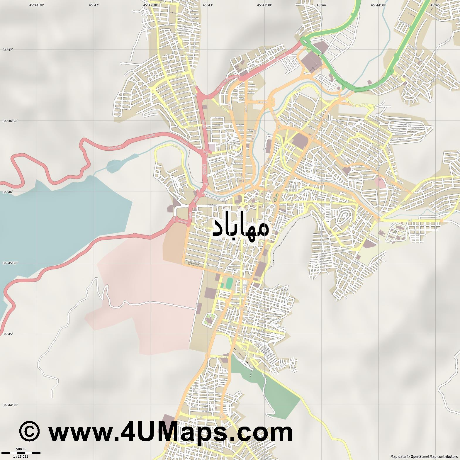 مهاباد Mahabad  jpg ultra high detail preview vector city map