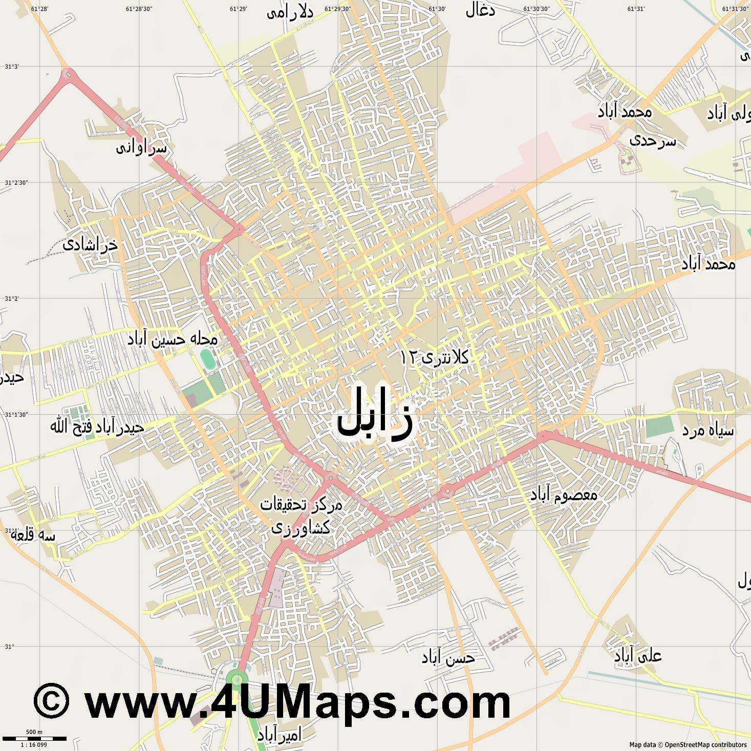 زابل Zabol  jpg ultra high detail preview vector city map