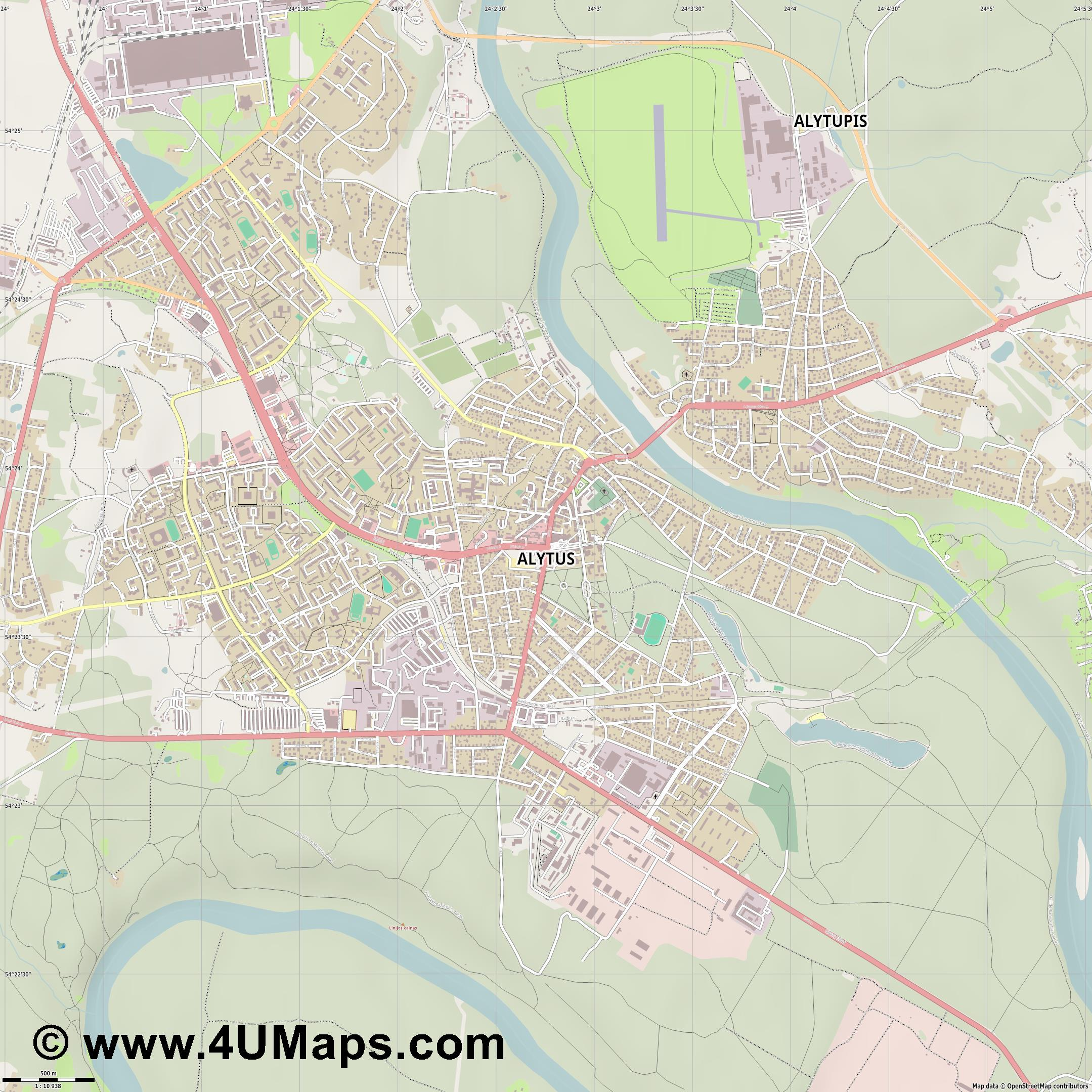 Alytus Alitten  jpg ultra high detail preview vector city map